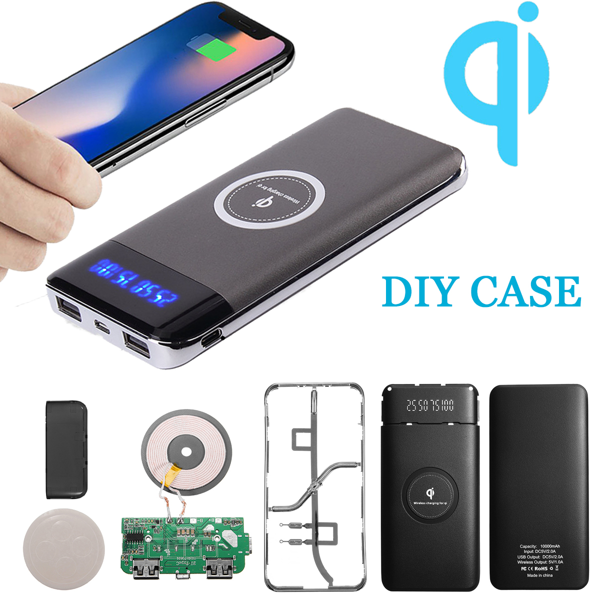 Diy Power Bank 10000mah Qi Charger Led Power Bank Diy Case Wireless Charging Iphonex Usb For Qi Enabled Devices Cell Phone