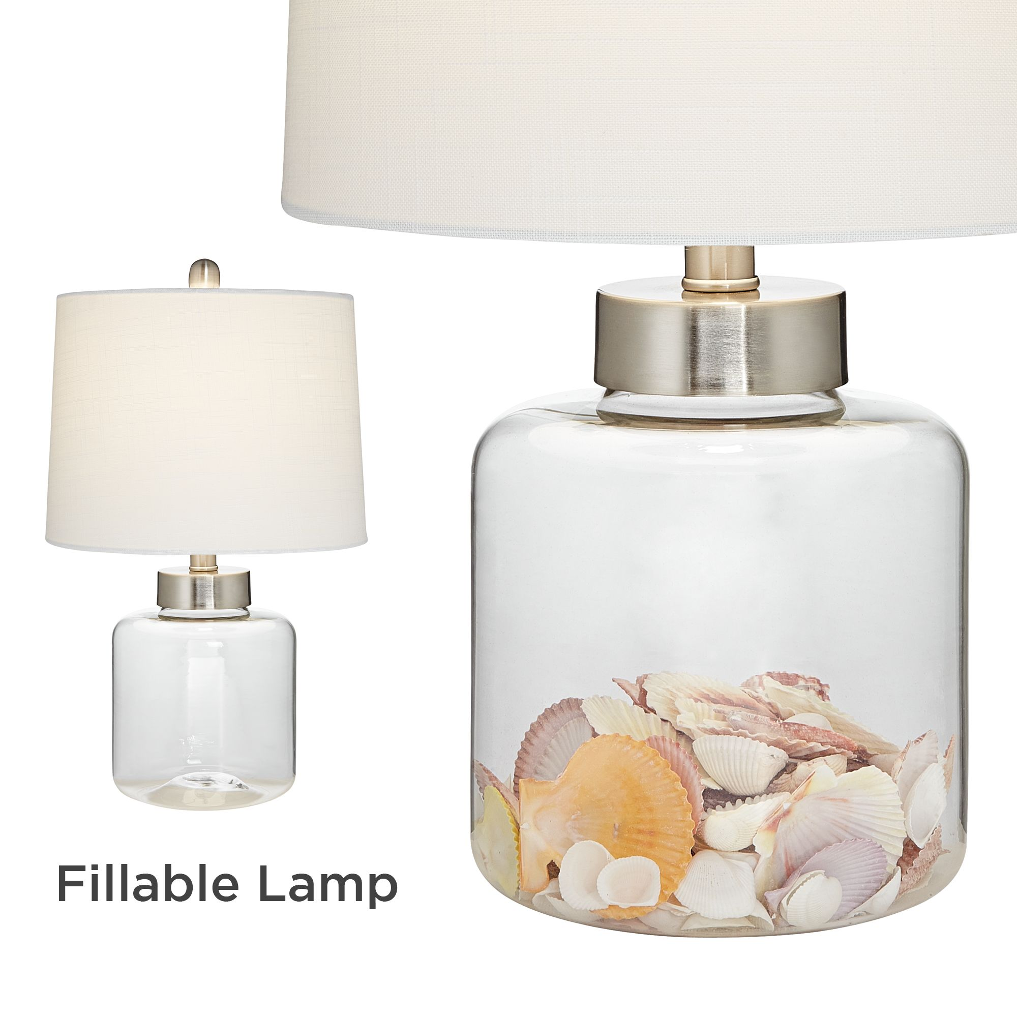 Coastal Lamps 360 Lighting Coastal Accent Table Lamps Set Of 2 Small Clear Glass Fillable Shells White Drum Shade For Living Room Family Bedroom