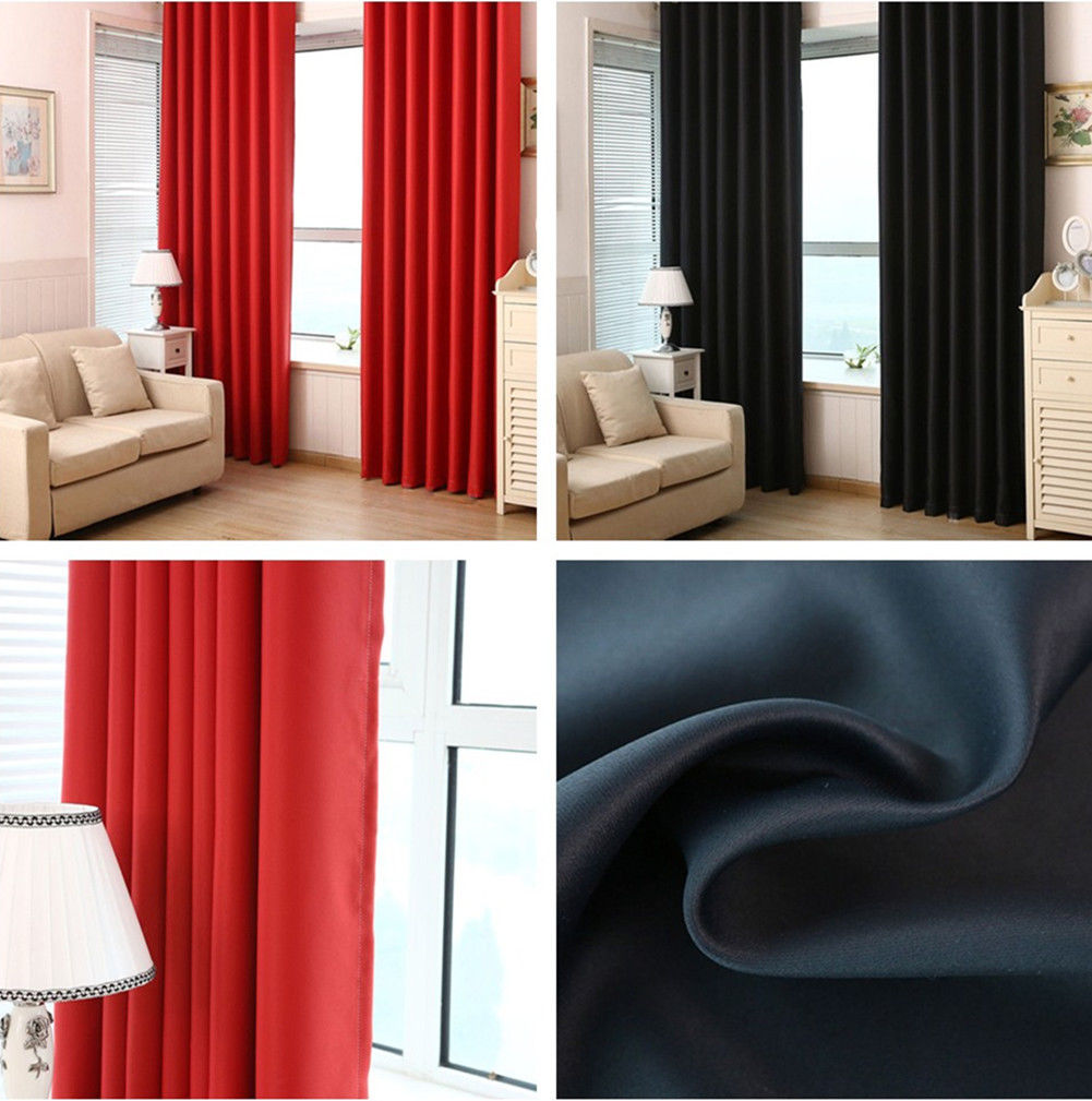 Curtain Insulation Fabric Fashion Solid Color Blockout Cloth Insulation Curtains Eyelet Pure Fabric Washable 100 Blackout Room Darkening Black