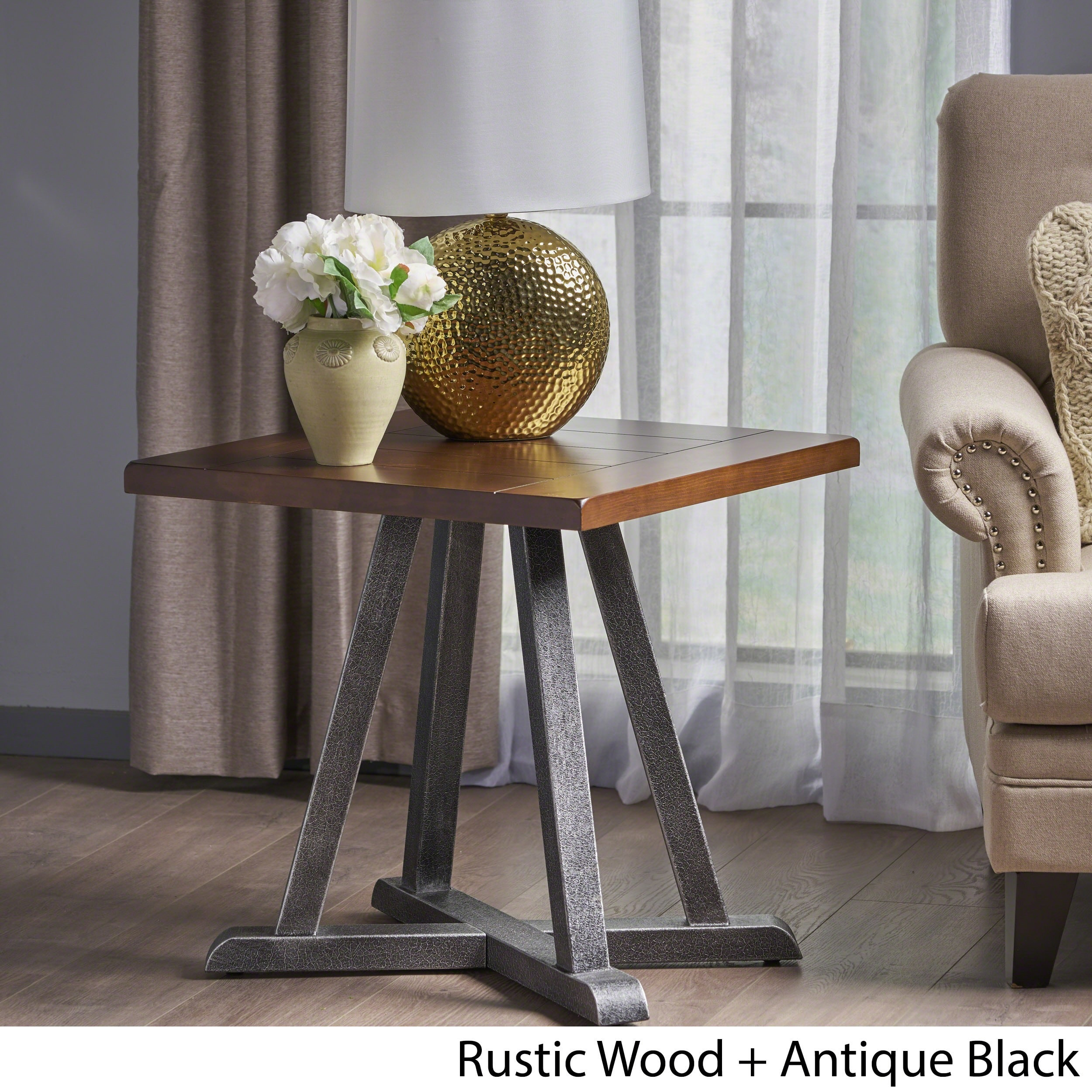 Rustic Wood End Table Christopher Knight Home Orpheus Industrial Rustic Square Wood End Table By Dark Brown