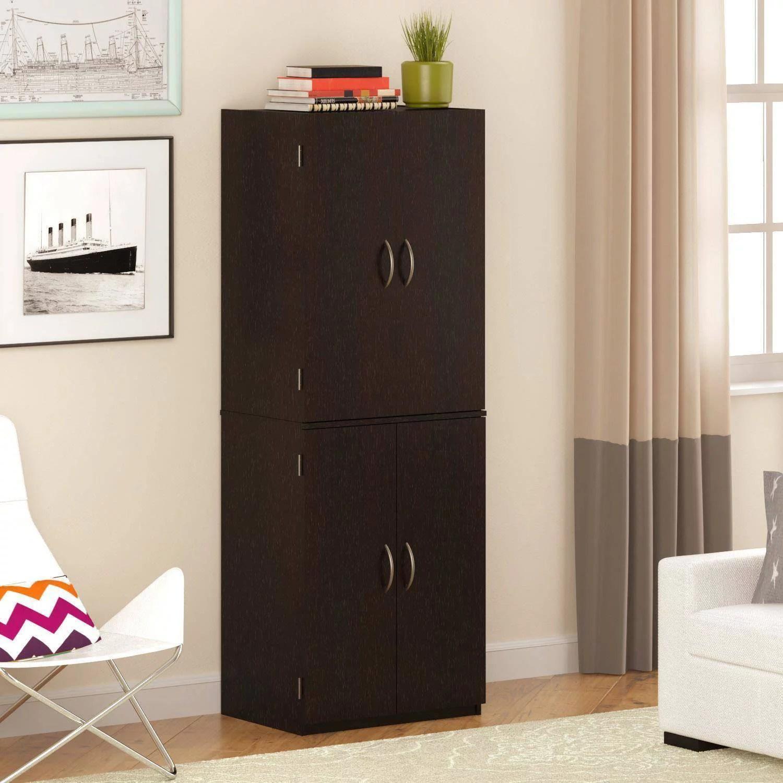 Tall Kitchen Storage Cabinet Wood Shelves Cupboard Food