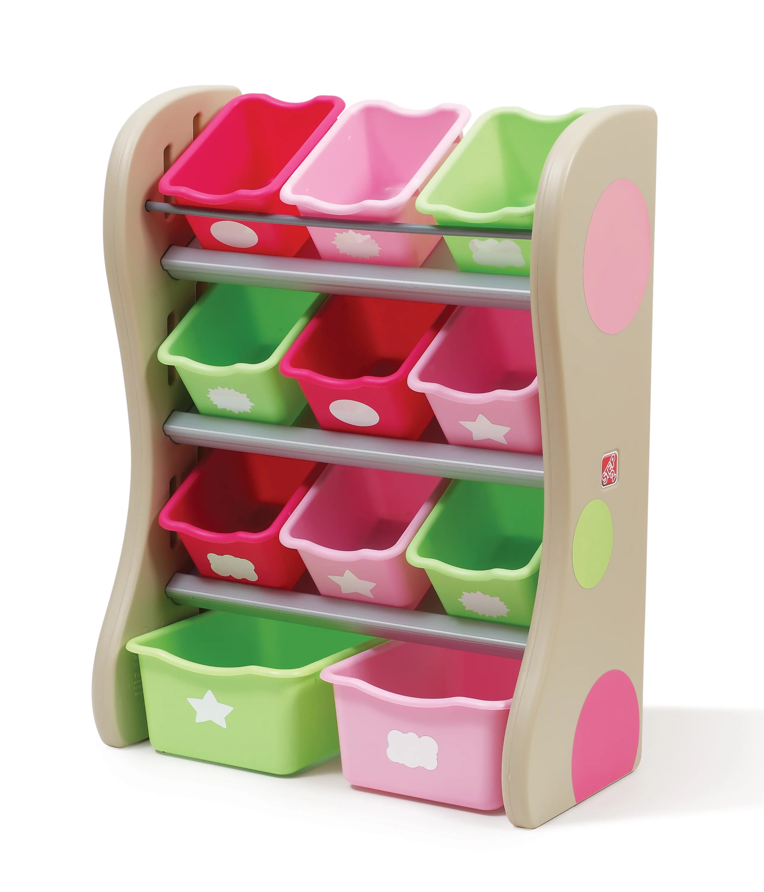 Pink Bins Step2 Storage Bin Organizer Pink Red And Green Bins Walmart
