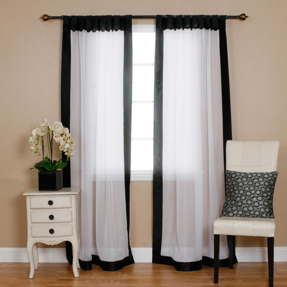 Black Voile Curtains Quality Home Voile Curtains With Faux Silk Border Black 52
