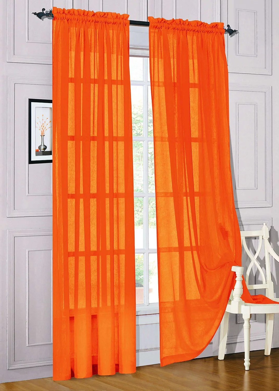 Orange Curtain Panels Set Of 2 Sheer Voile Window Curtain Panels 84