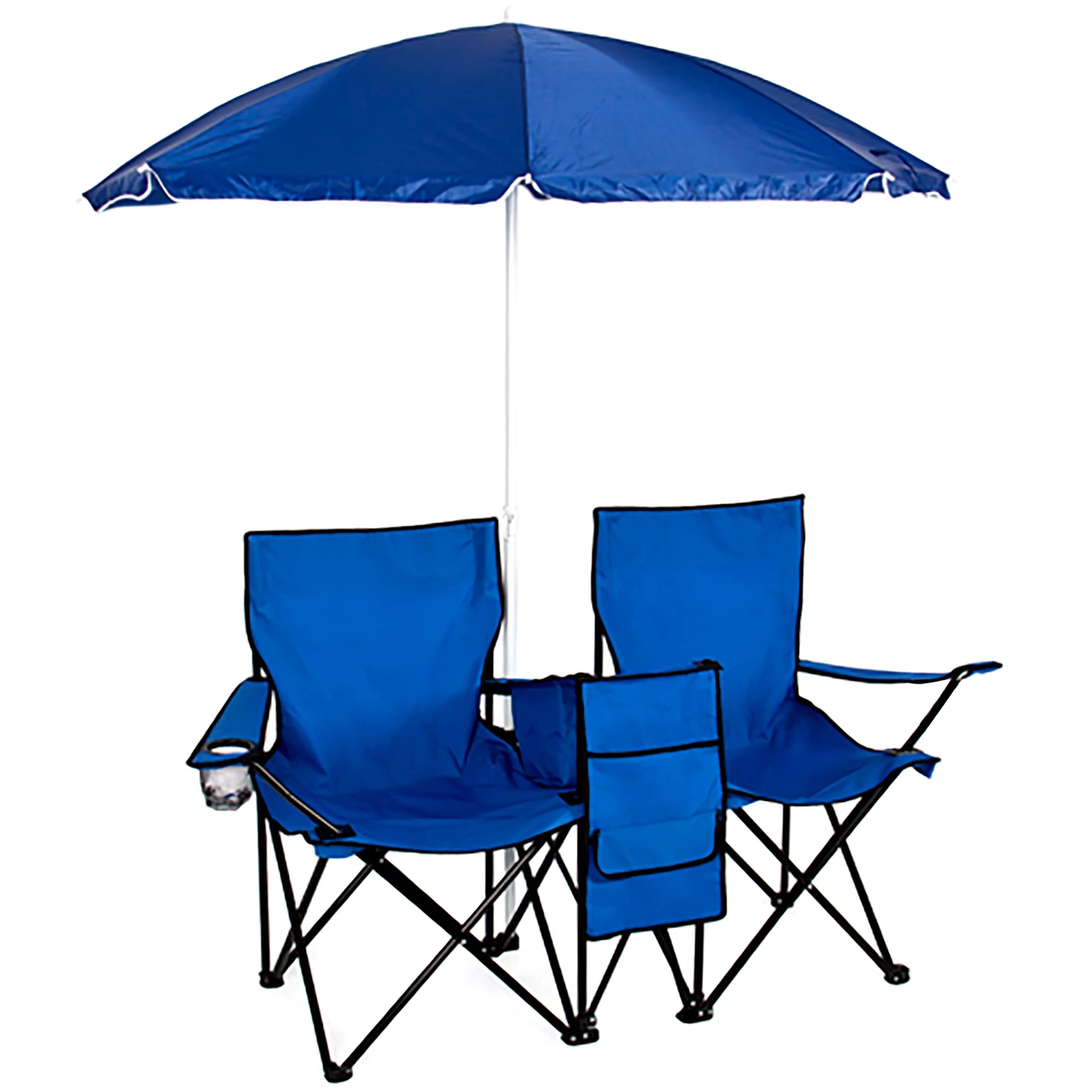 Picnic double folding chair w umbrella table cooler fold up beach camping chair walmart com