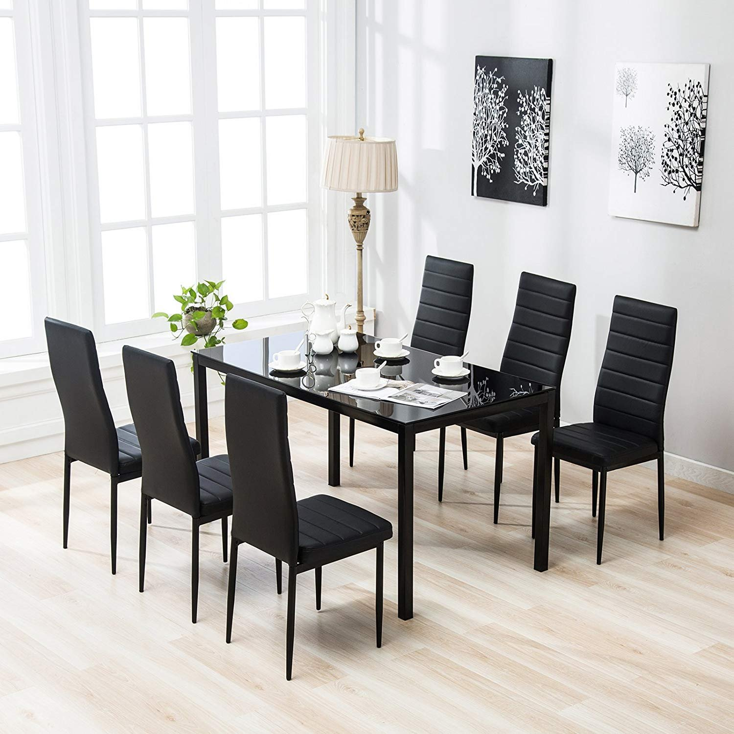 Glass Dining Table And Chairs Zimtown 7 Pcs Glass Dining Table Set With 6 Leather Chairs Kitchen Room Furniture Black