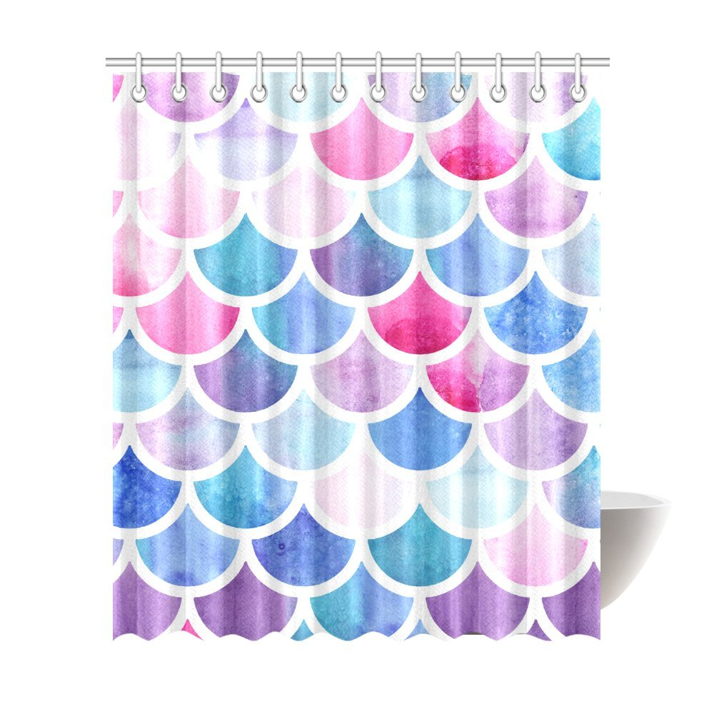 Mermaid Scale Shower Curtain Mkhert Mermaid Colorful Fish Scale Polyester Fabric Bathroom Shower Curtain 66x72 Inch