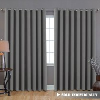 "Blackout Patio Grey Curtains, Extra Long and Wider (100""W ..."