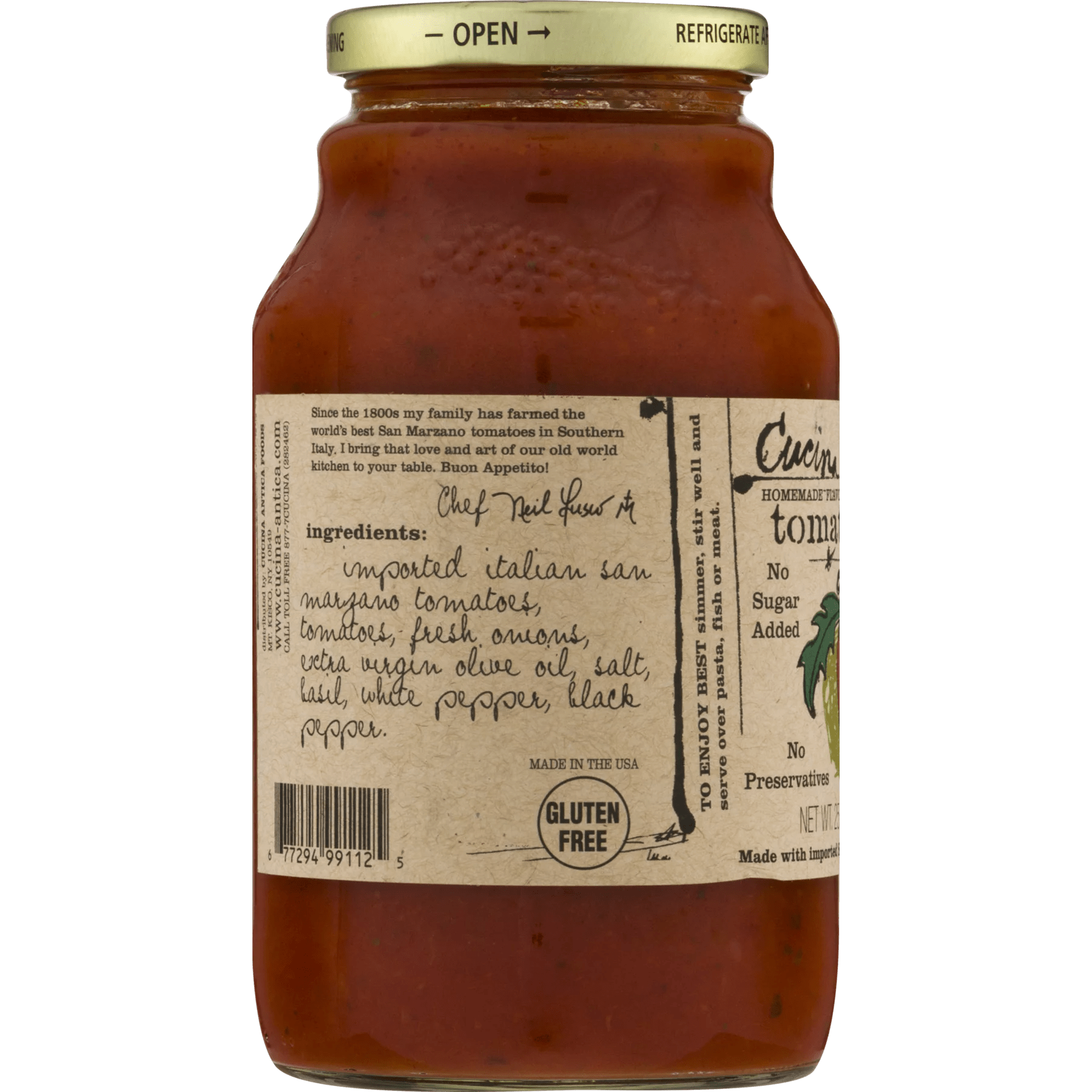 Cucina Antica Tomato Ketchup Cucina Antica All Natural Cooking Sauce Tomato Basil 25 Oz