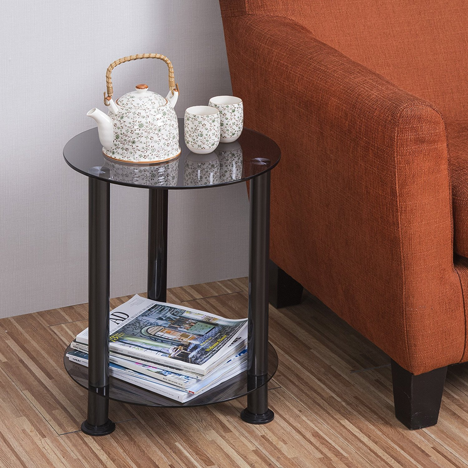 Small Round Glass End Table Fitueyes Grey Glass End Table Accent Side Table Coffee Table Dt203801gt