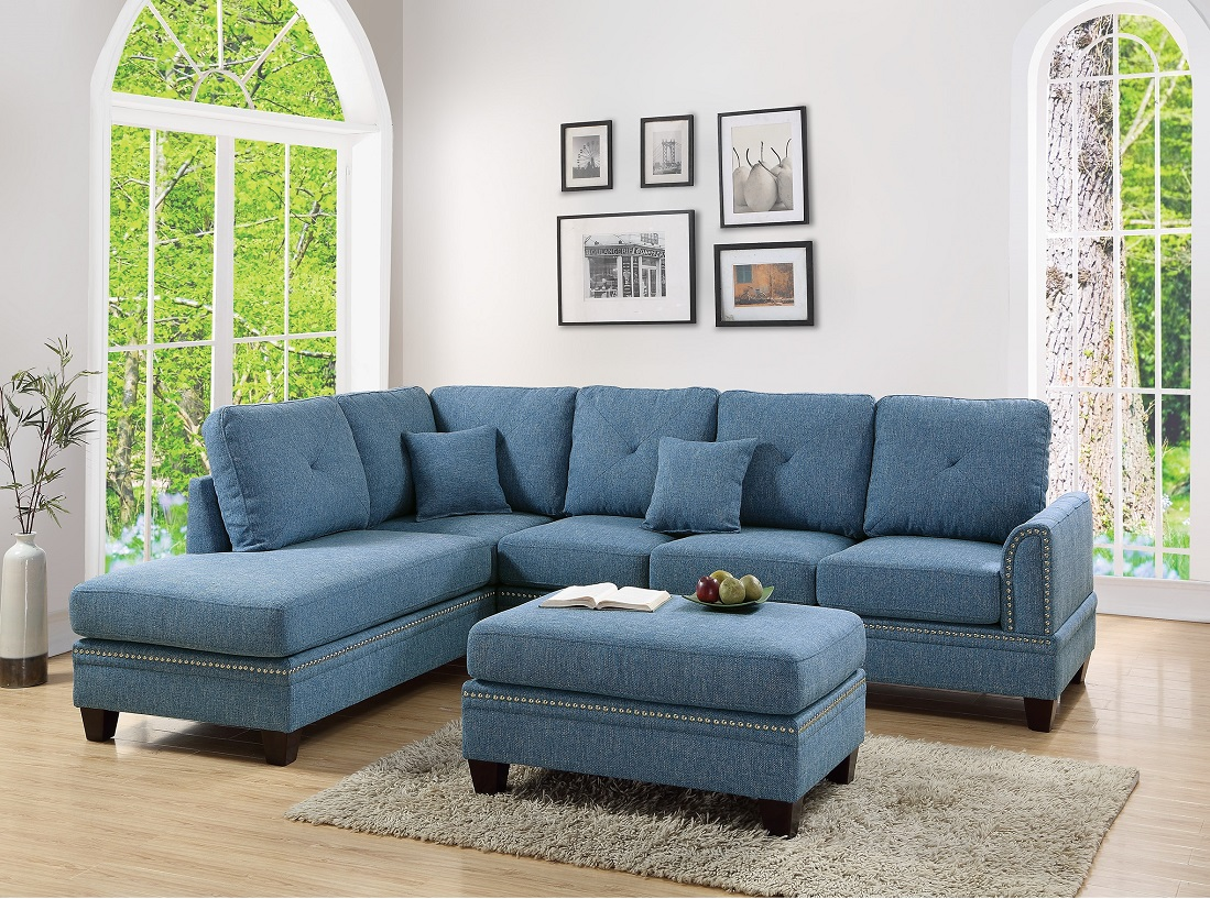 2 Pcs Sectional Sofa Blue Modern Sectional Reversible Chaise Sofa Pillows Cotton Blended Fabric Couch Living Room Furniture Walmart Com Walmart Com