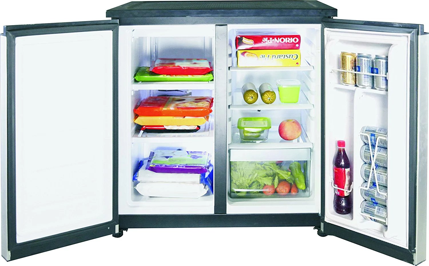 Mini Fridge And Freezer Rca 5 5 Cu Ft Side By Side 2 Door Fridge Freezer Rfr551 Stainless