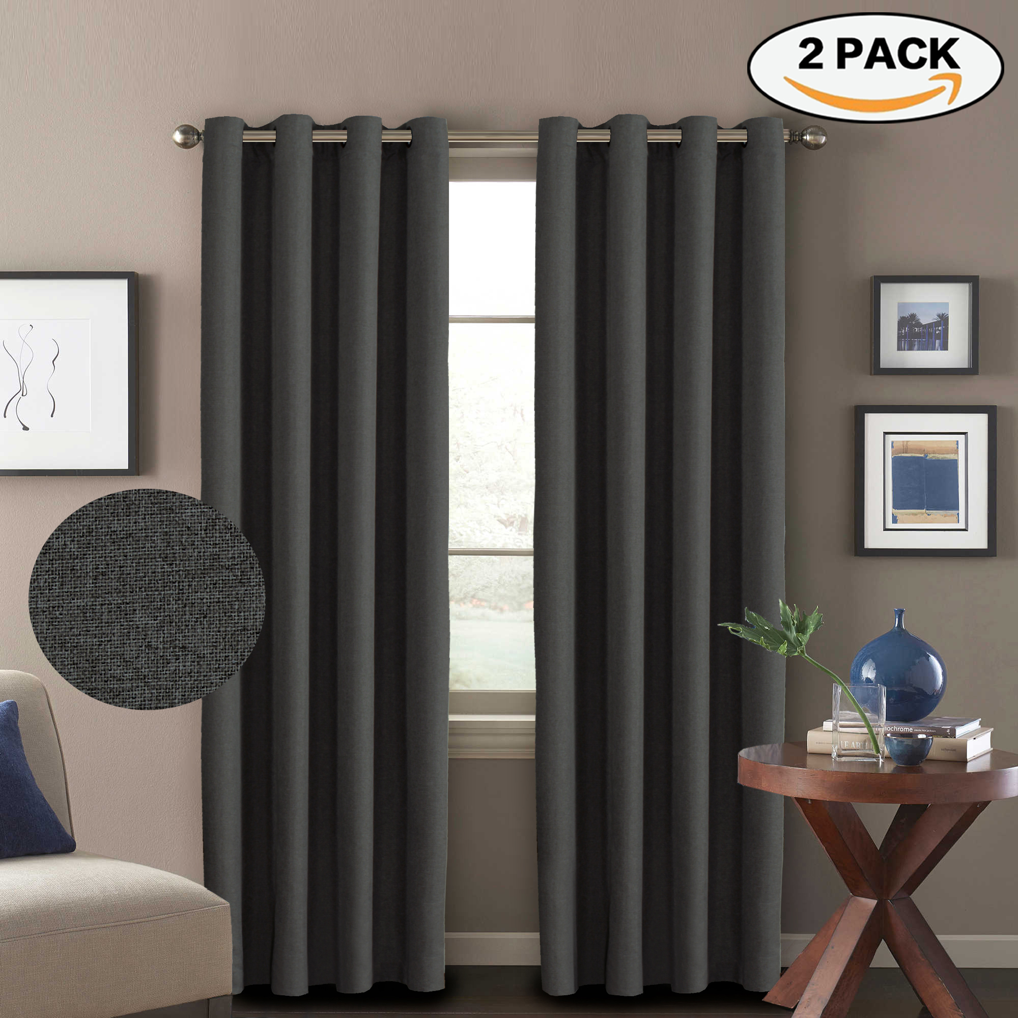 Window Coverings To Keep Heat Out Faux Linen Brown Pair Curtains Thermal Insulated Room Darkening Window Panels Heavy Duty Textured Burlap Effect Grommet Drapes For Bedroom 63 Inch