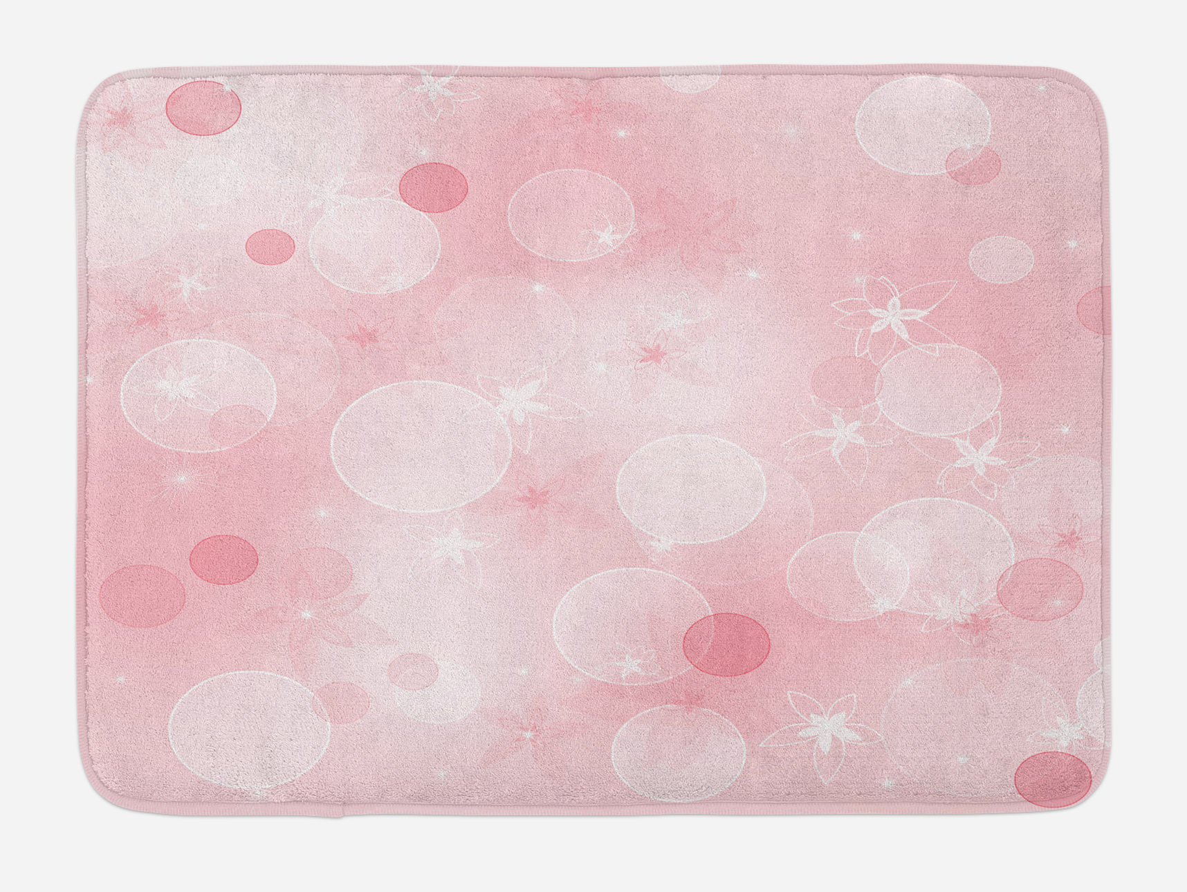 Pastel Pink Kitchen Accessories Light Pink Bath Mat Floral Background With Hazy Bubbles