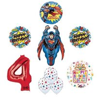Superman 4th Birthday Party Supplies and Balloon ...