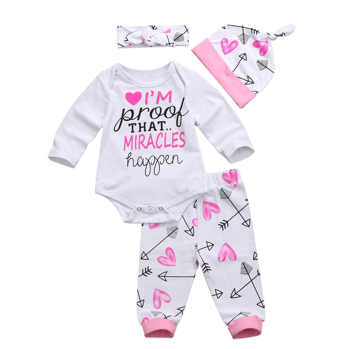 Newborn Infant Outfits 4pcs Newborn Baby Boy Girl Clothes Letter Print Long Sleeve Romper Tops Pant Trouser Headband Hat Outfit Children Clothing Set