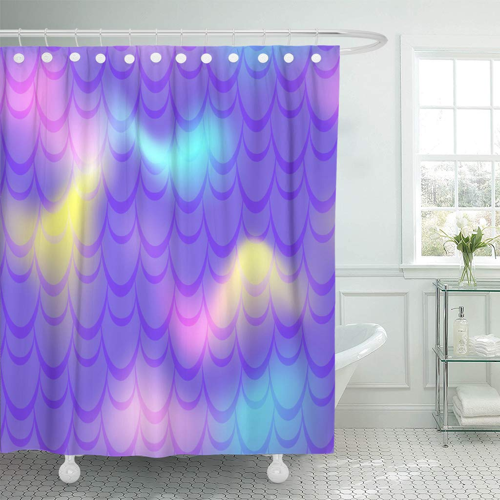 Mermaid Scale Shower Curtain Ksadk Neon Violet Mermaid Fish Scale Holographic Gradient Electric Iridescent Shower Curtain Bathroom Curtain 66x72 Inch