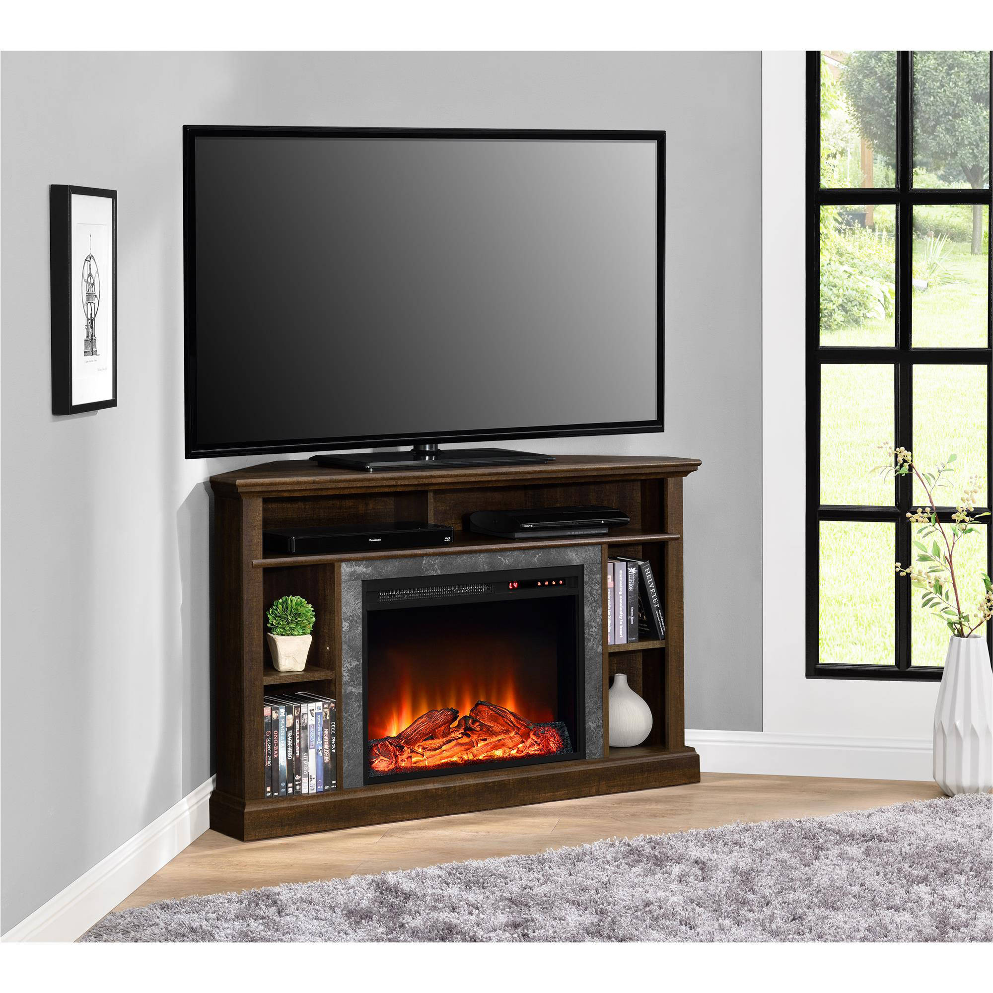 Walmart Black Electric Fireplace Mainstays Loring Media Fireplace For Tvs Up To 50