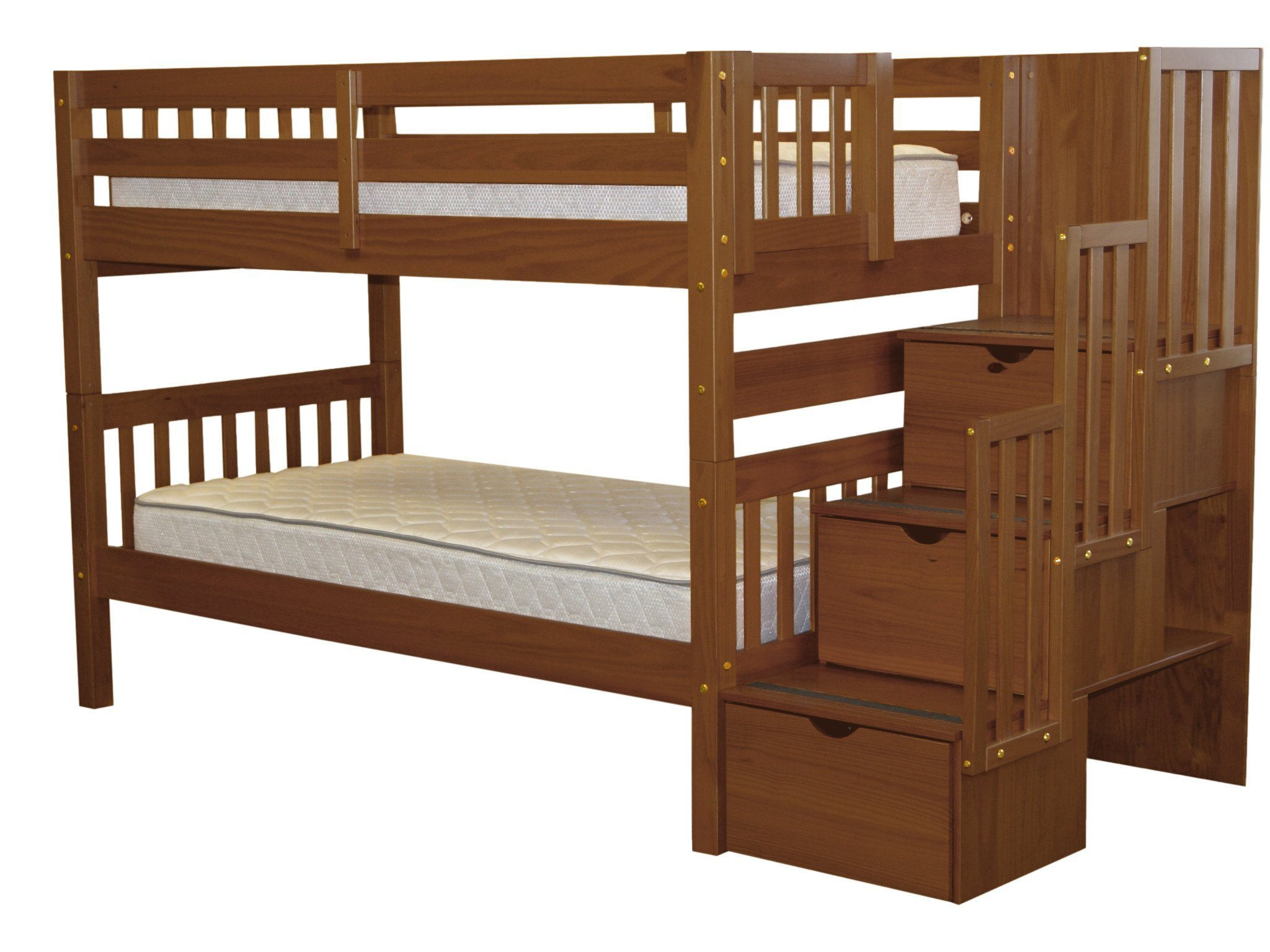 3 Twin Beds In The Space Of 1 Bedz King Stairway Bunk Beds Twin Over Twin With 3 Drawers