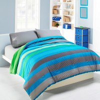 Mainstays Rugby Stripe Comforter, Green and Blue - Walmart.com