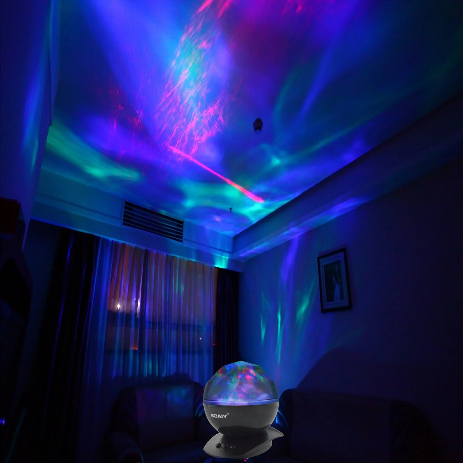 Night Light With Stars On Ceiling Soaiy Night Light Projector Aurora Ocean Weave Projector For Baby Kids Children Adults Christmas Rotating Star Projector Led Night Light Lamp With