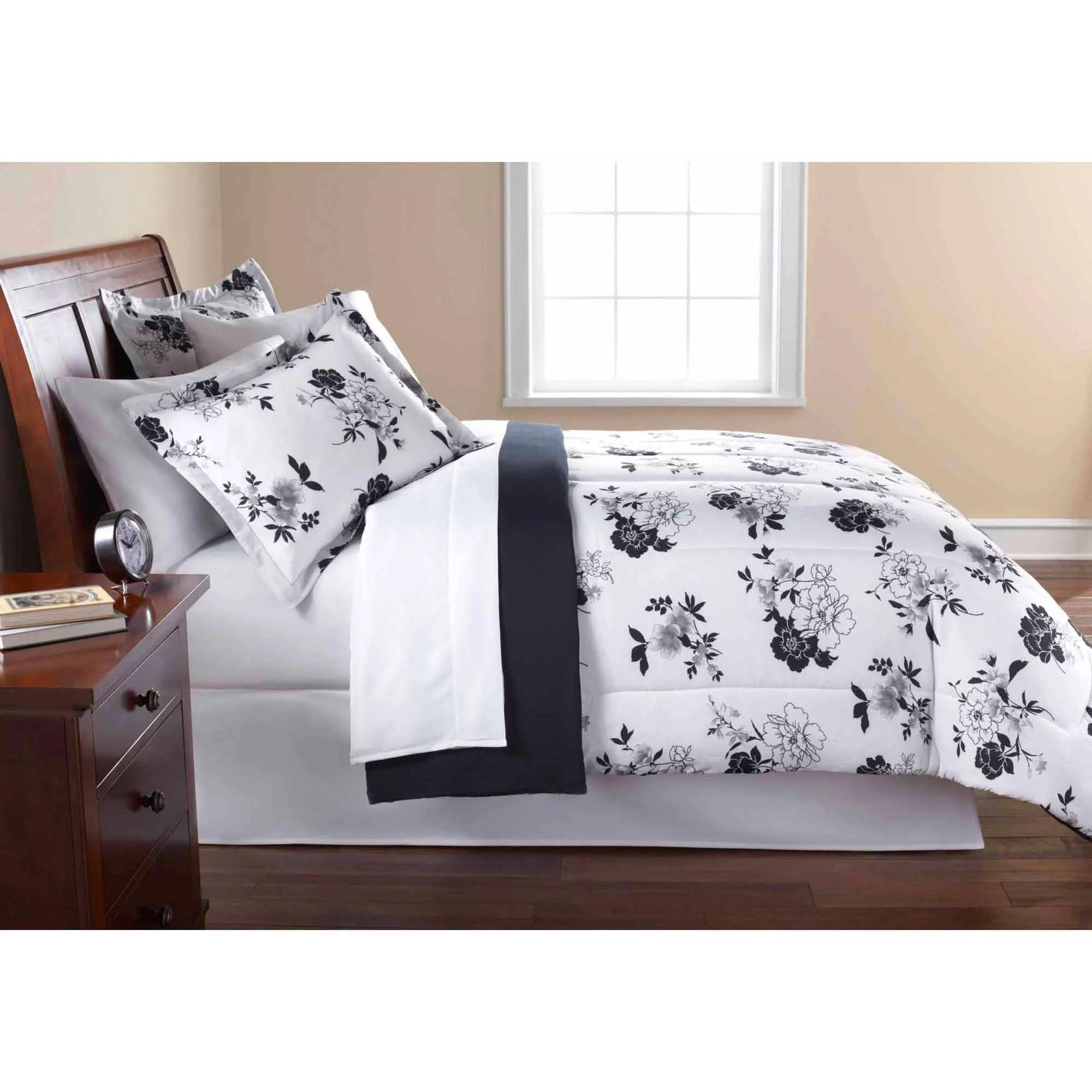 Mainstays black and white floral bed in a bag bedding comforter set walmart com