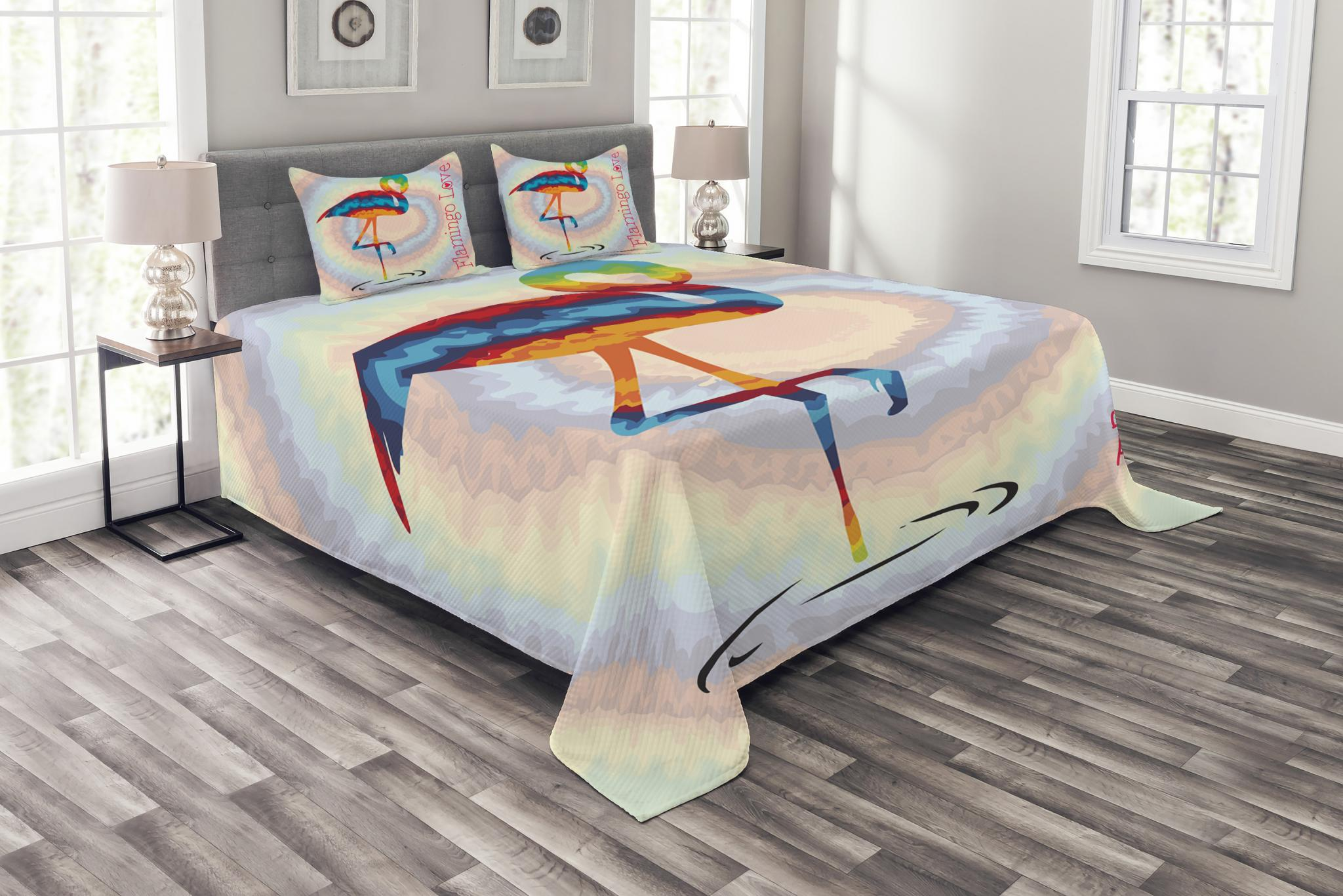 Single Coverlet Flamingo Bedspread Set Single Flamingo Rainbow Color Tie Dye Effect Background Animal World Artwork Print Decorative Quilted Coverlet Set With