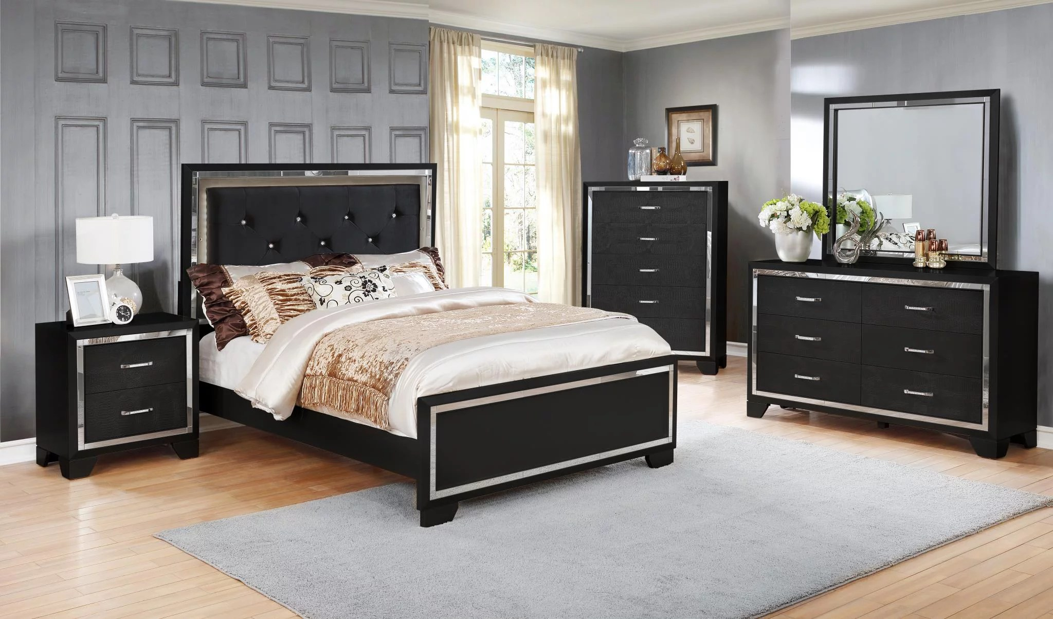 Gtu Furniture Contemporary Black And Silver Style Wooden Queen Bedroom Set Queen Size Bed 5pc Walmart Com Walmart Com