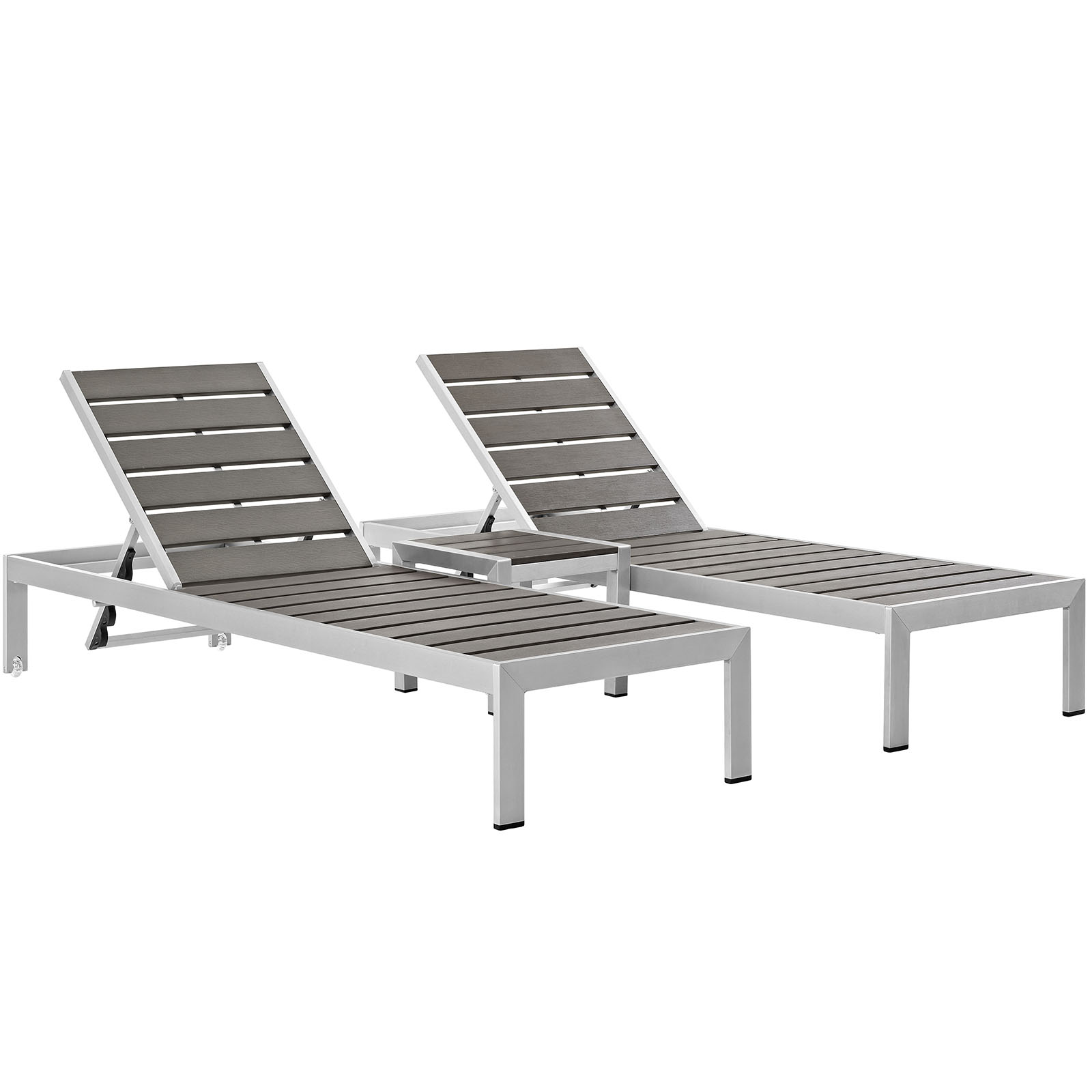 White Plastic Sun Loungers Modern Contemporary Urban Design Outdoor Patio Balcony Three Pcs Chaise Lounge Chair Set Grey Gray Aluminum