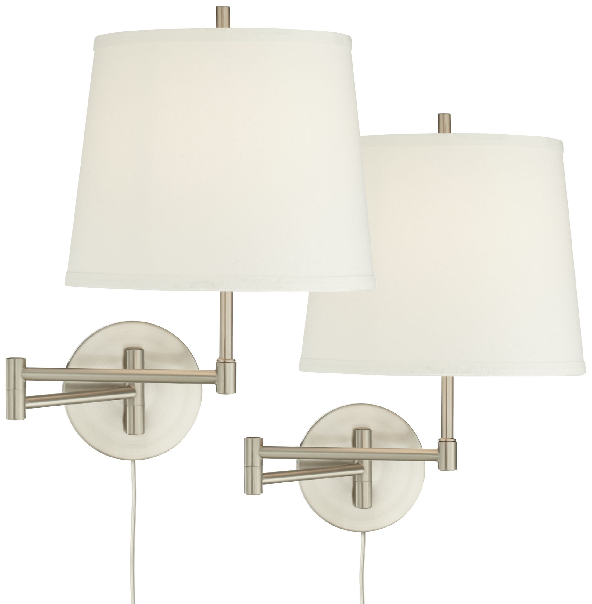 Swing Wall Lamp 360 Lighting Modern Swing Arm Wall Lamp Set Of 2 Brushed Nickel Off White Shade For Bedroom Living Room Reading