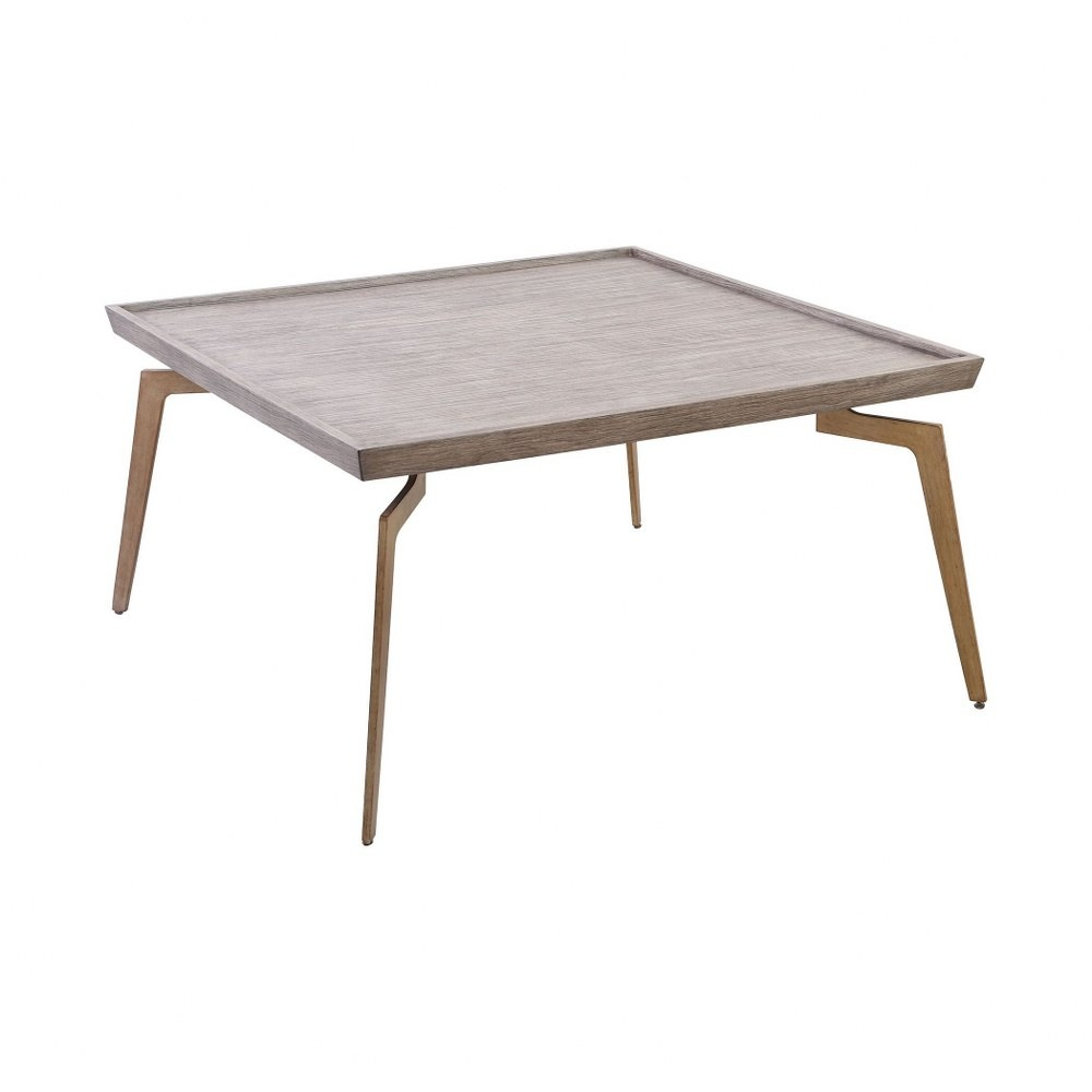 Square Coffee Table In Soft Gold Grey Birch Veneer Finish