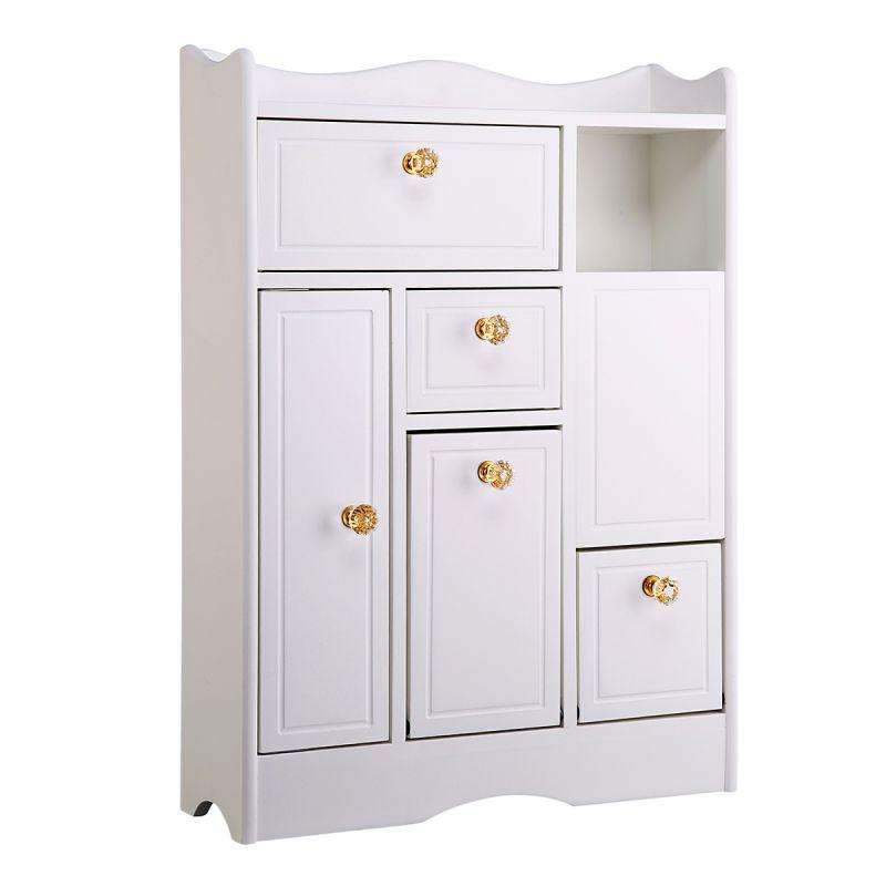 Bathroom Storage Wood Rolling Floor Cabinet Wooden Home