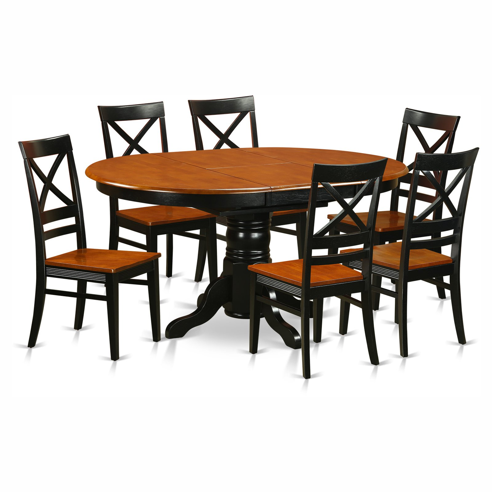 East West Furniture Avon 7 Piece Pedestal Oval Dining Table Set With Quincy Wooden Seat Chairs Walmart Com Walmart Com