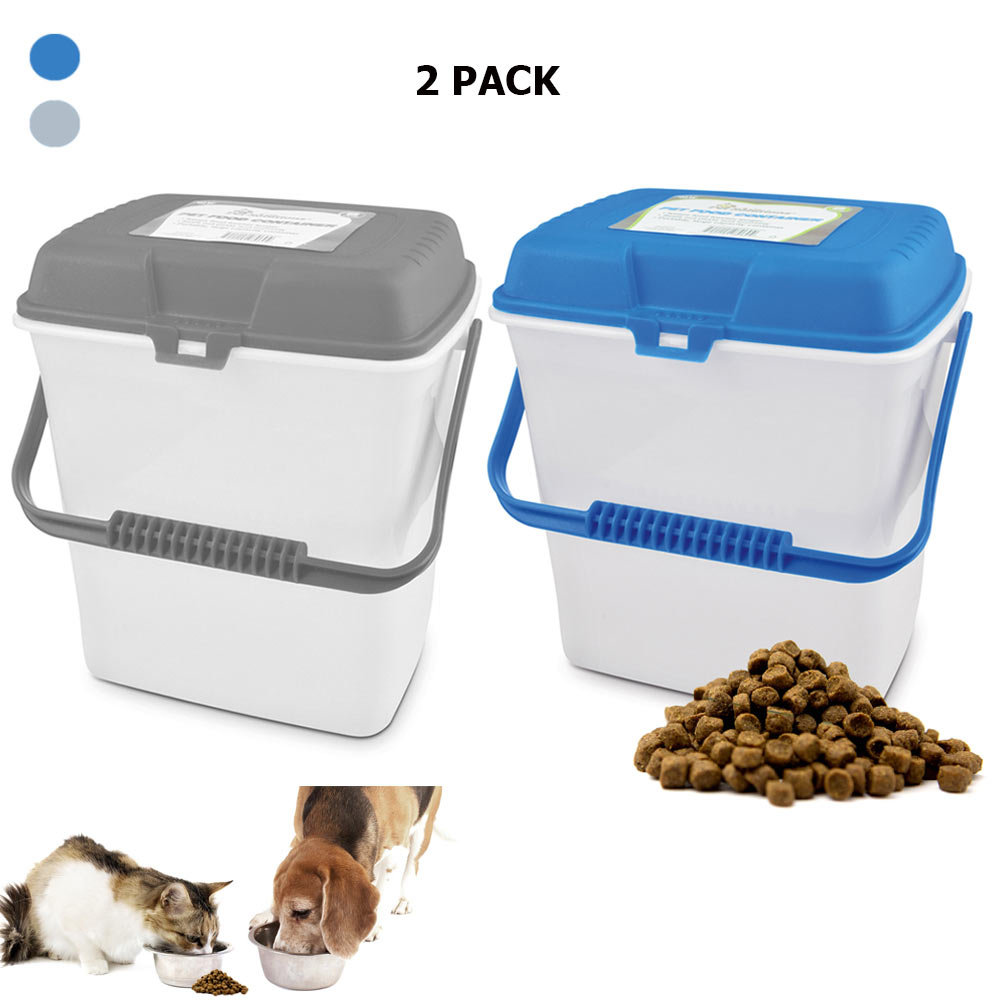 2 Pc Pet Food Storage Container 4 Gallon Airtight Portable Clear Dog Cat Supply Walmart Com Walmart Com