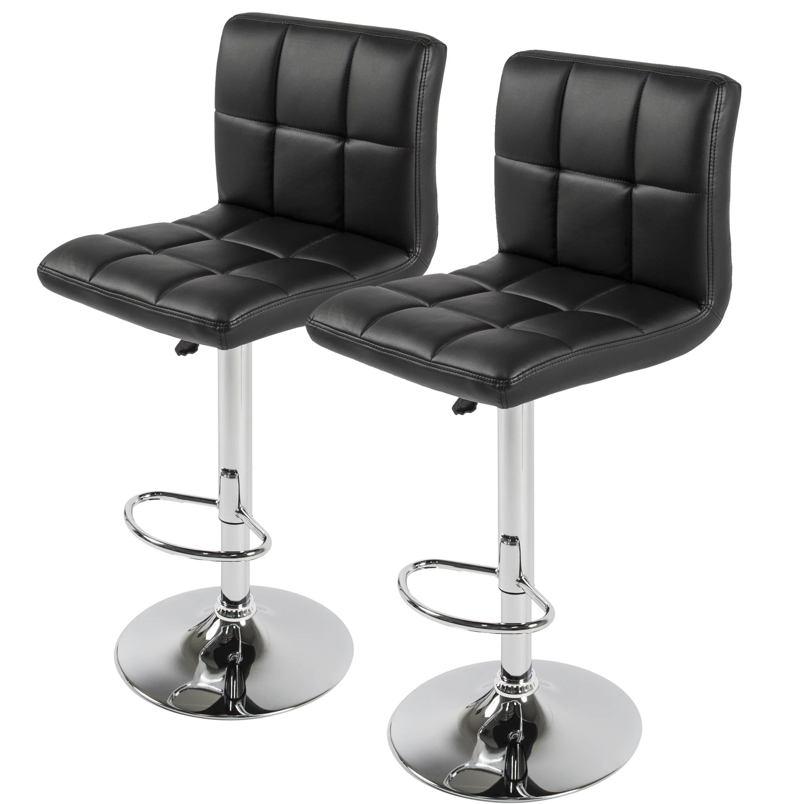 Bar Stool Chairs Best Choice Products Set Of 2 Pu Leather Adjustable Bar Stools Counter Swivel Barstool Pub Black