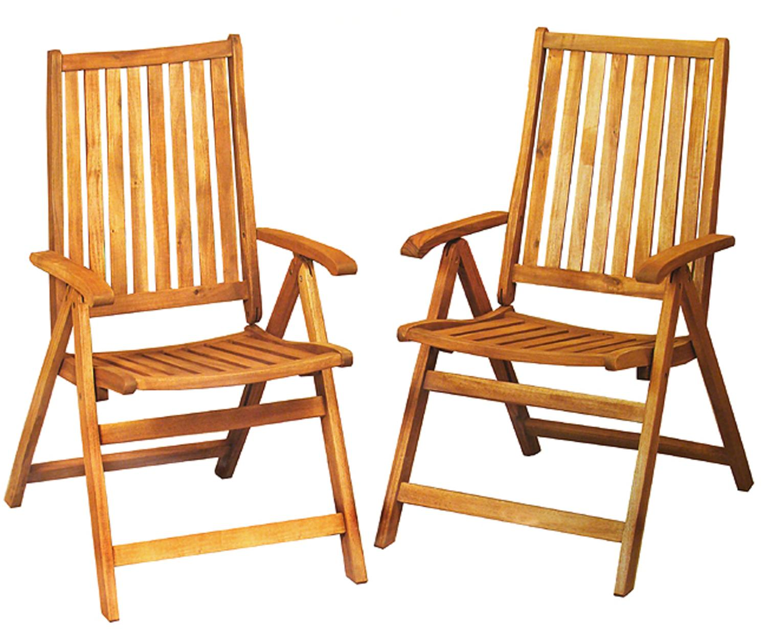 Set Of 2 Acacia Wood Folding Chairs Outdoor Patio