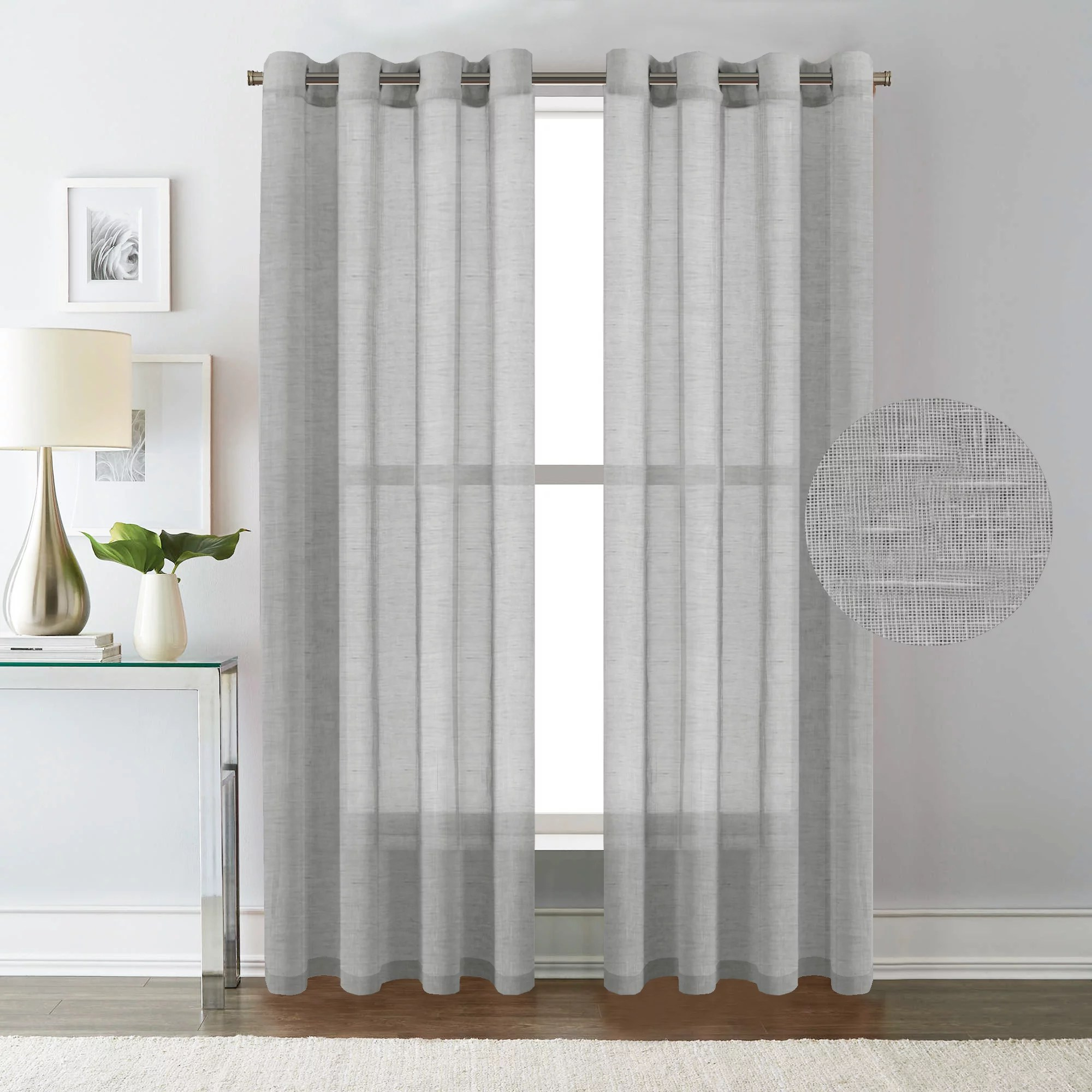 Privacy Curtain For Bedroom H Versailtex Elegant Natural Linen Sheer Curtains For Bedroom Privacy Protection Nickel Grommet Window Panels Drapes Set Of 2 52x84 Inch Dove