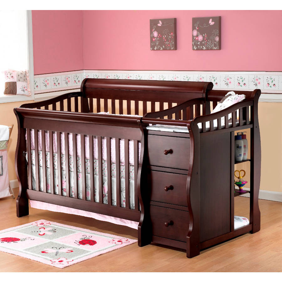Sorelle tuscany 4 in 1 convertible fixed side crib and changing table espresso walmart com