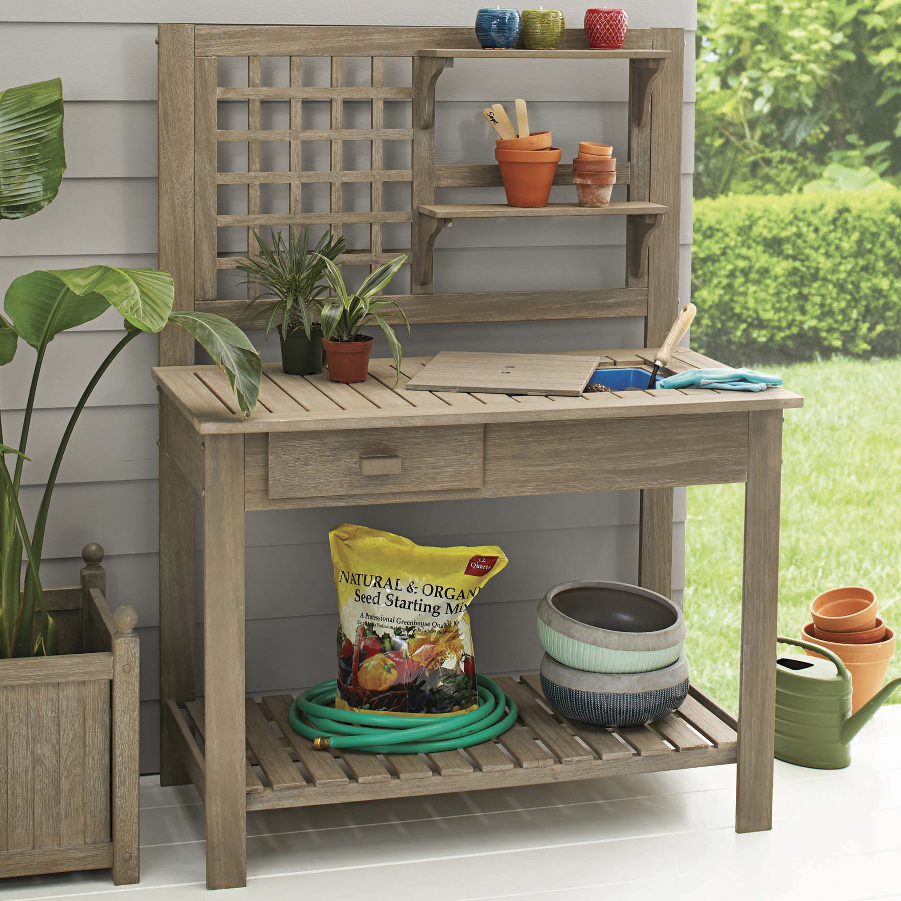 Planting Tables For Sale Better Homes And Gardens Camrose Farmhouse Outdoor Potting Bench