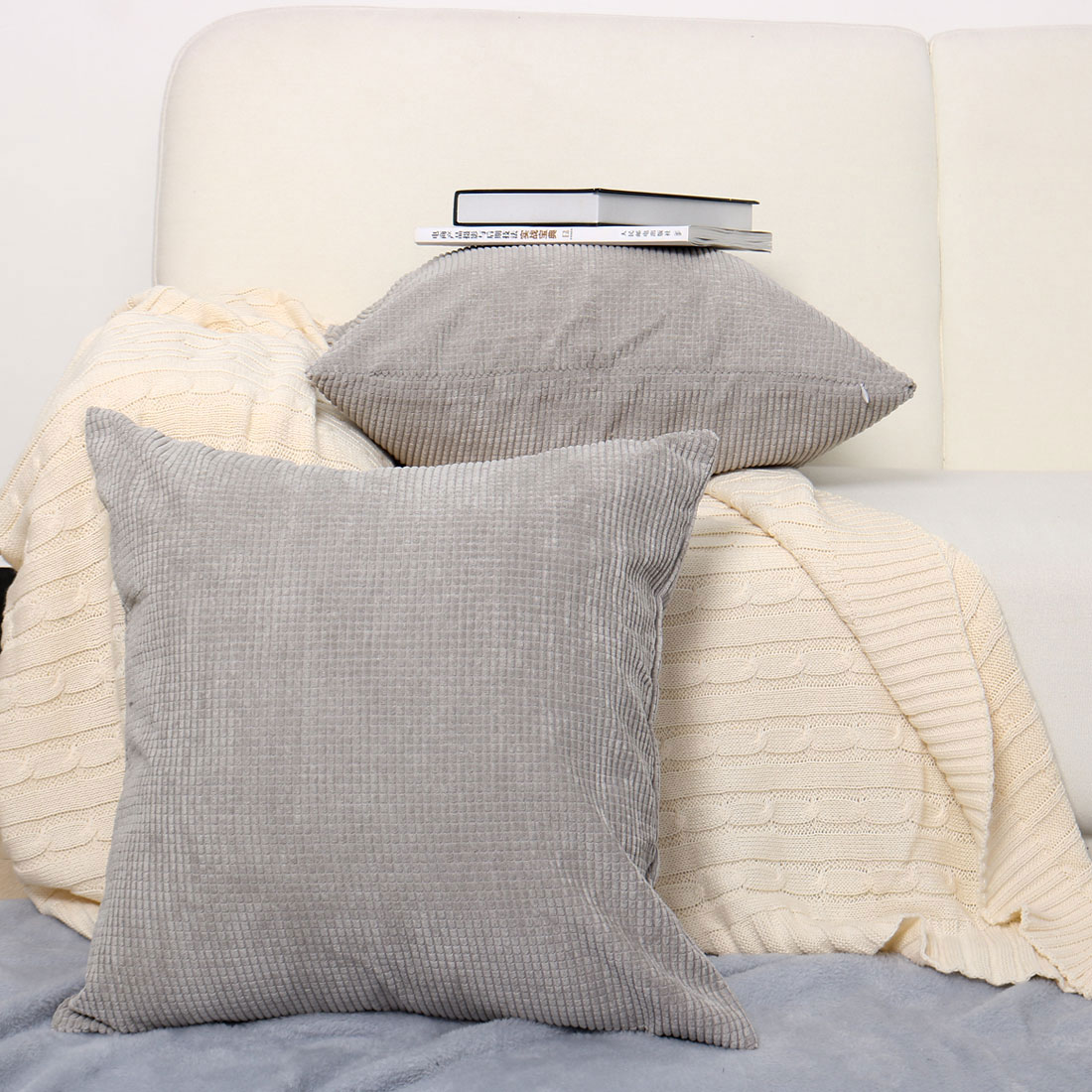 High Quality Sofa Pillows Home Sofa Cushion Cover Corduroy Striped Decorative Throw Pillow Case Set