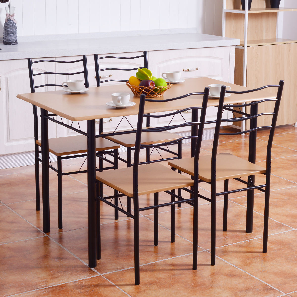 Breakfast Chairs Costway 5 Piece Dining Table Set With 4 Chairs Wood Metal Kitchen Breakfast Furniture