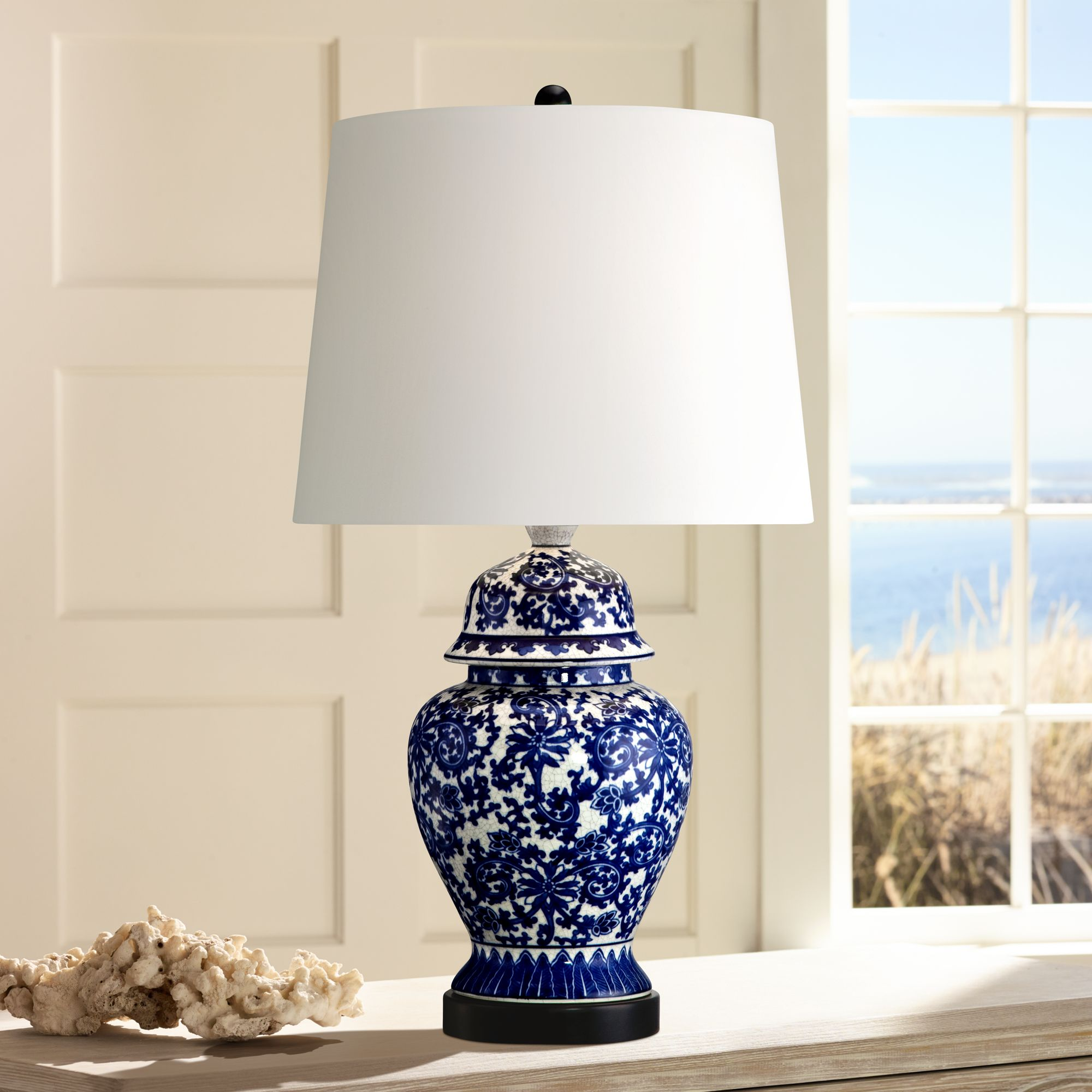 Asian Table Lamp Regency Hill Asian Table Lamp Temple Porcelain Jar Blue Floral White Drum Shade For Living Room Family Bedroom Bedside Nightstand