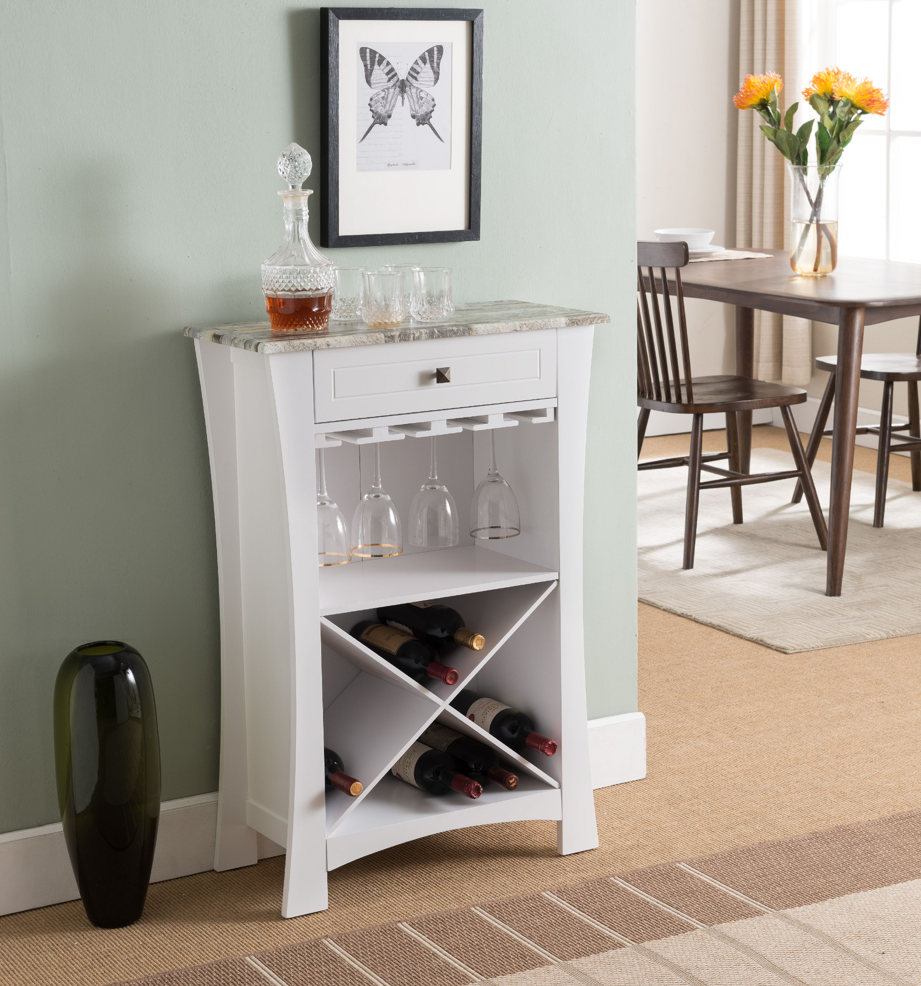Wine Holder Stand Jasper White Marble Wood Transitional Wine Rack Buffet Display Stand With Cup Holders Drawer Shelves