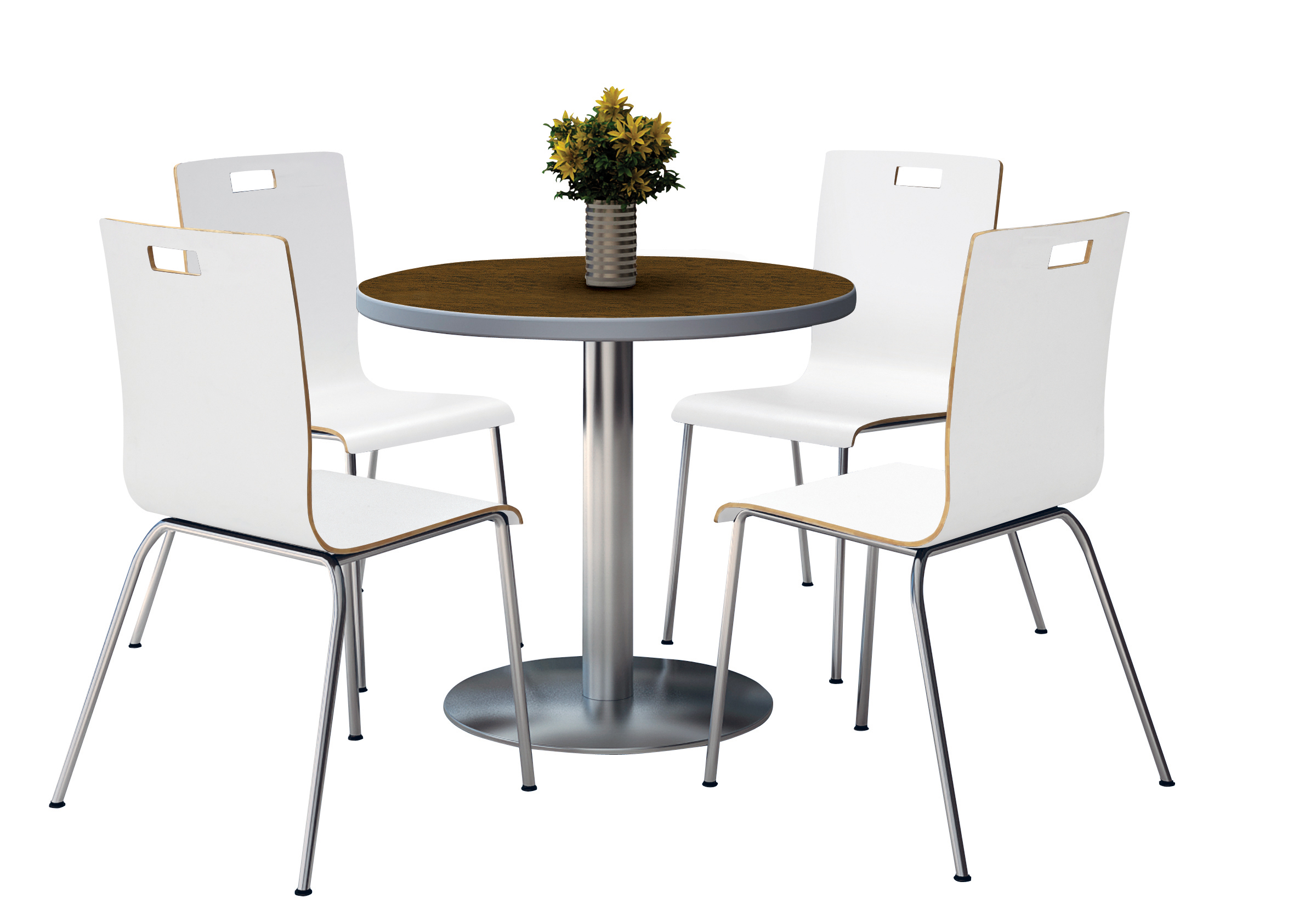 Kfi Round 42quot Dia Pedestal Breakroom Table With 4 White