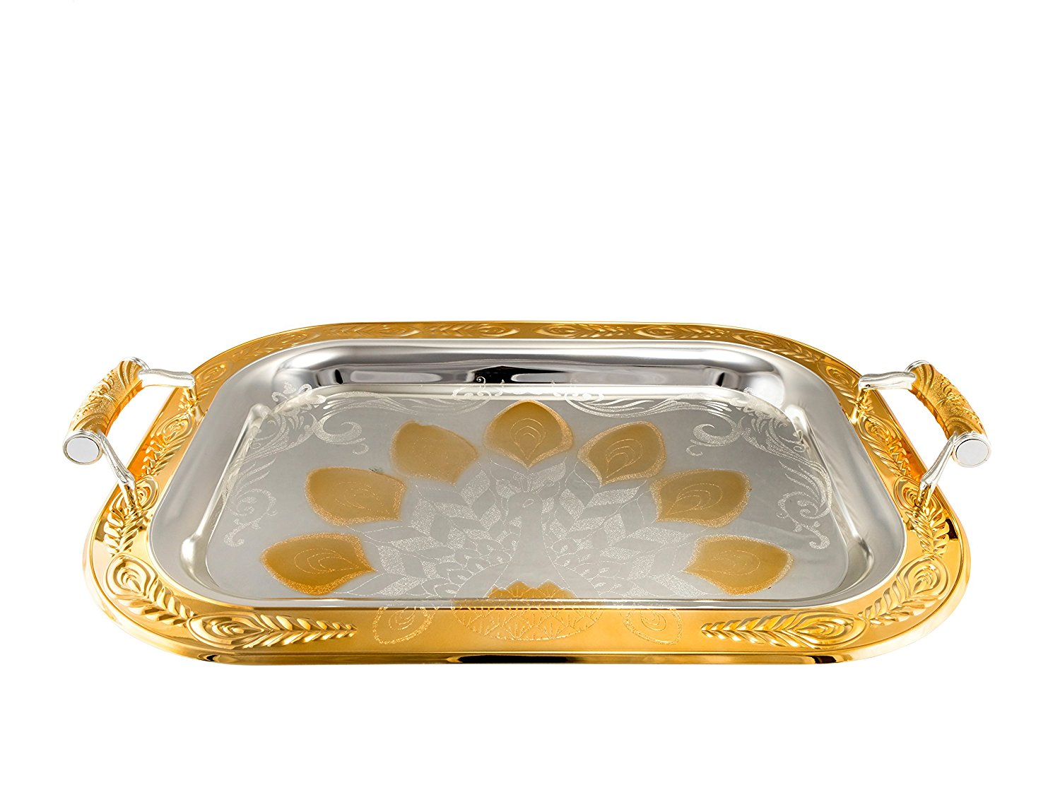 Gold Serving Tray Alpine Cuisine Serving Tray W Handles 18 Inch And 14 Inch Gold Handmade Set Of 2