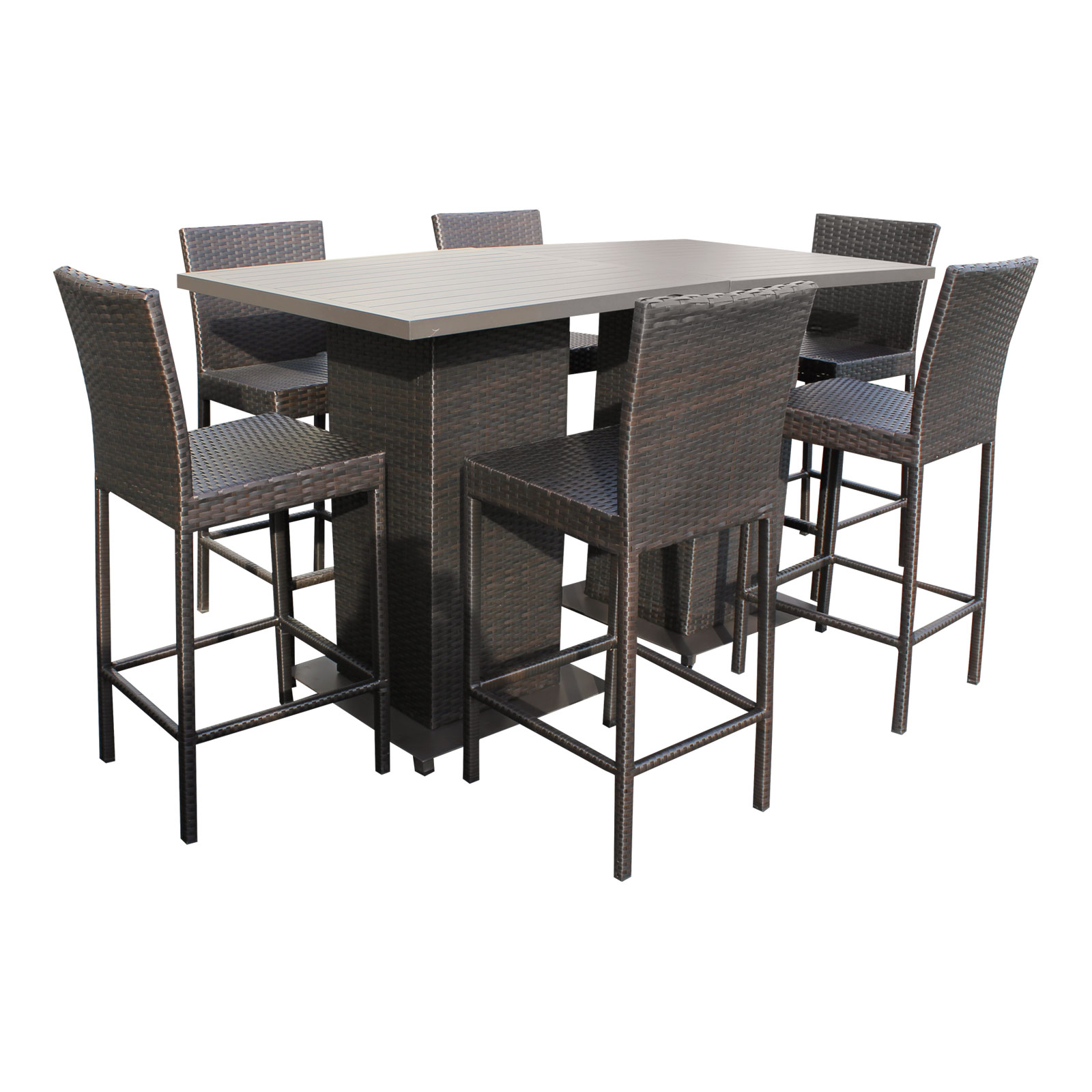 Table And Bar Stools Venus Pub Table Set With Barstools 5 Piece Outdoor Wicker Patio Furniture