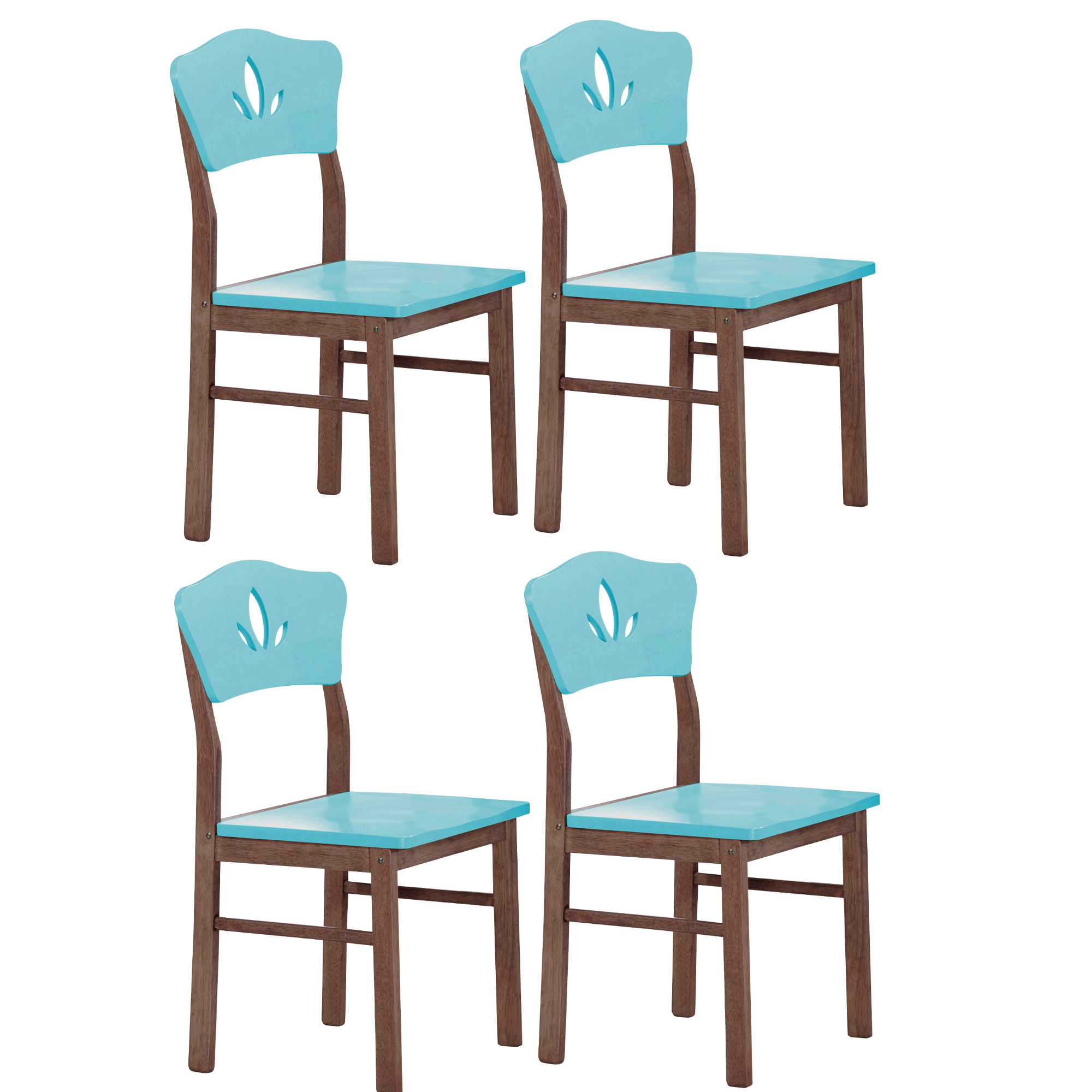 Lori Kitchen Dinette Retro Dining Chairs Blue Chocolate Wood Contemporary Set Of 4 Walmart Com Walmart Com