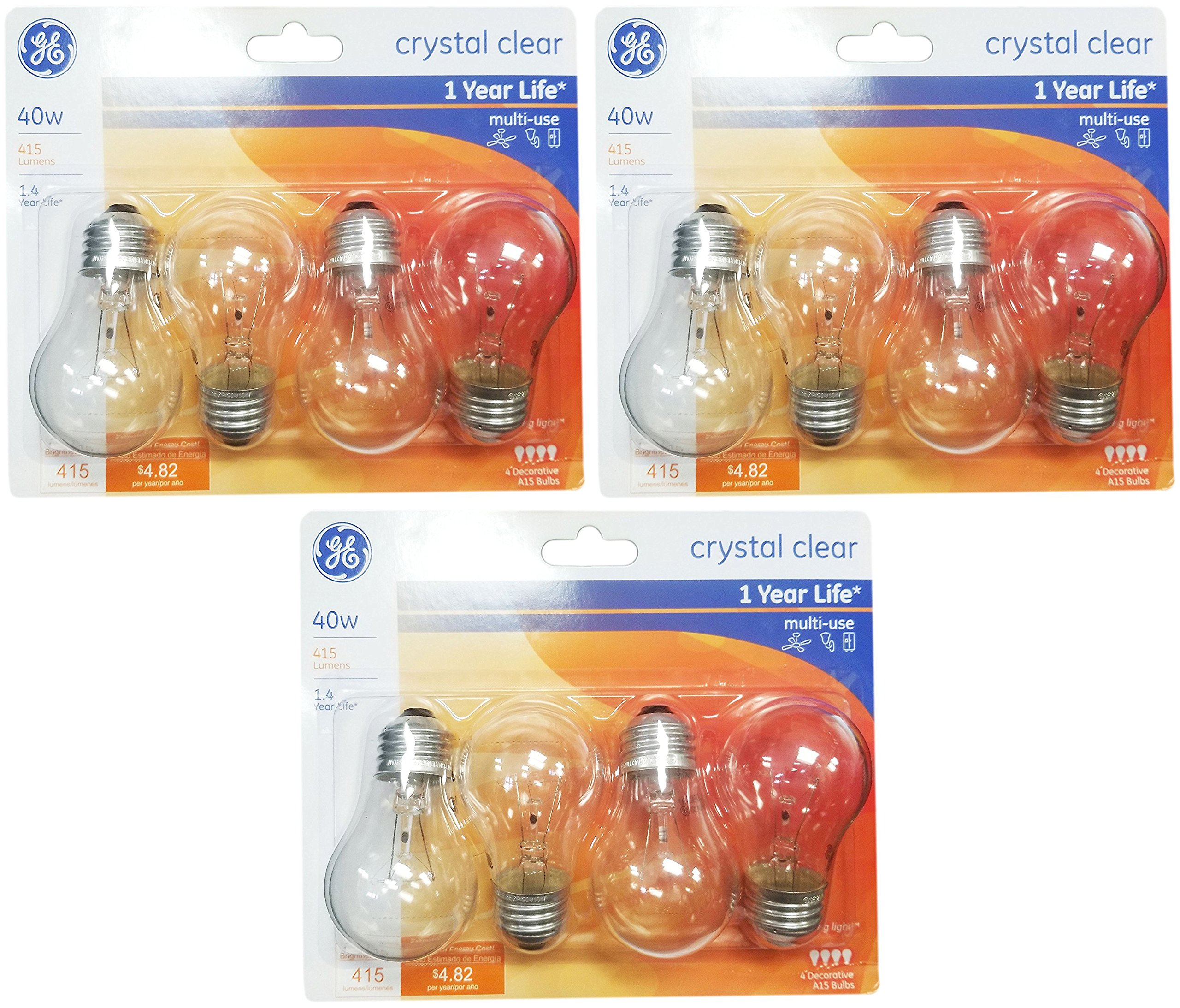 40 Watt In Lumen Ge Lighting 76580 Appliance 40 Watt 415 Lumen A15 Light Bulb With Medium Base 12 Pack