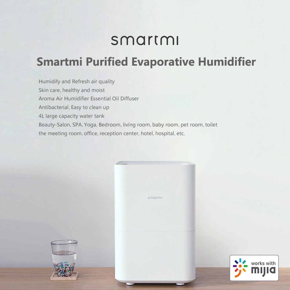 Smartmi Purified Evaporative Humidifier Home Air Dampener Aroma Air Humidifier Essential Oil Diffuser Work With App Walmart Canada