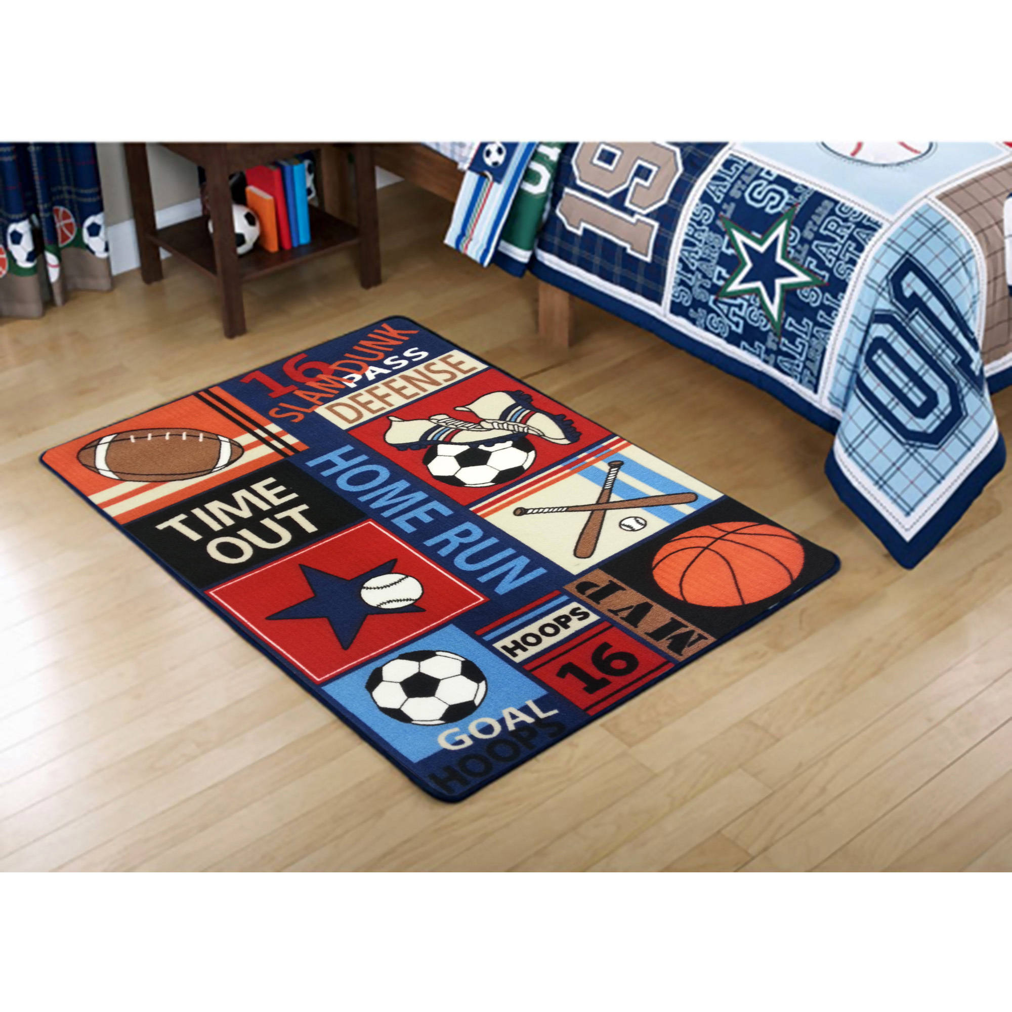 Children's Floor Rugs Mainstays Kids All Star Rectangular Royal Plush Rug